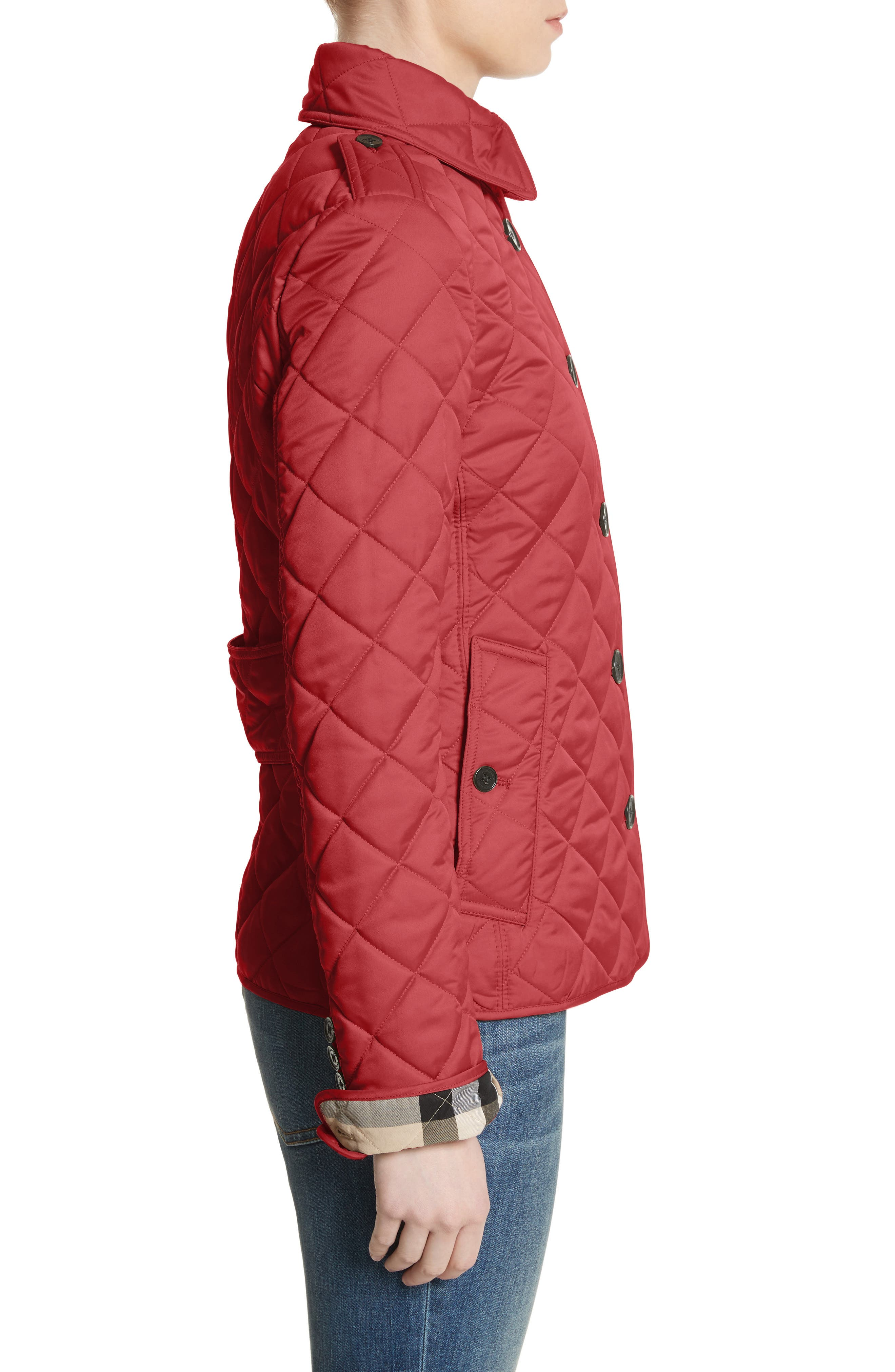 Frankby Quilted Jacket,                             Alternate thumbnail 3, color,                             PARADE RED