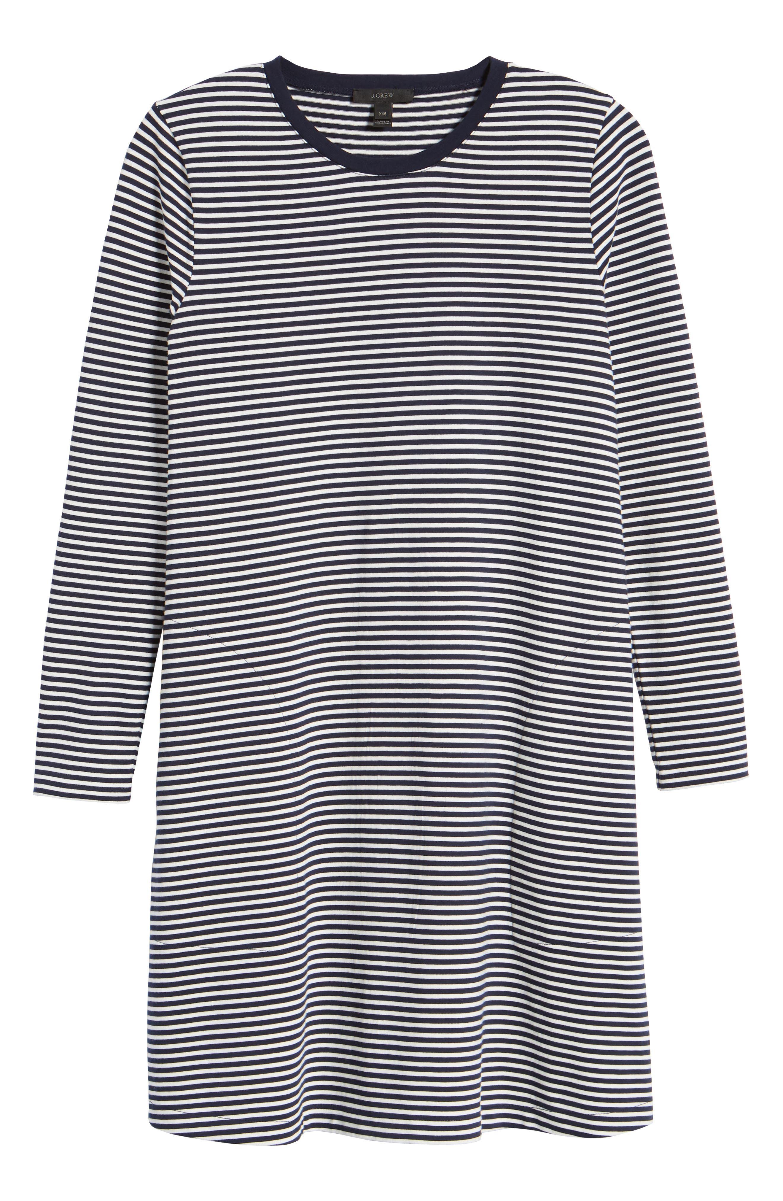 Easy Pocket Cotton Knit Stripe Dress,                             Alternate thumbnail 6, color,