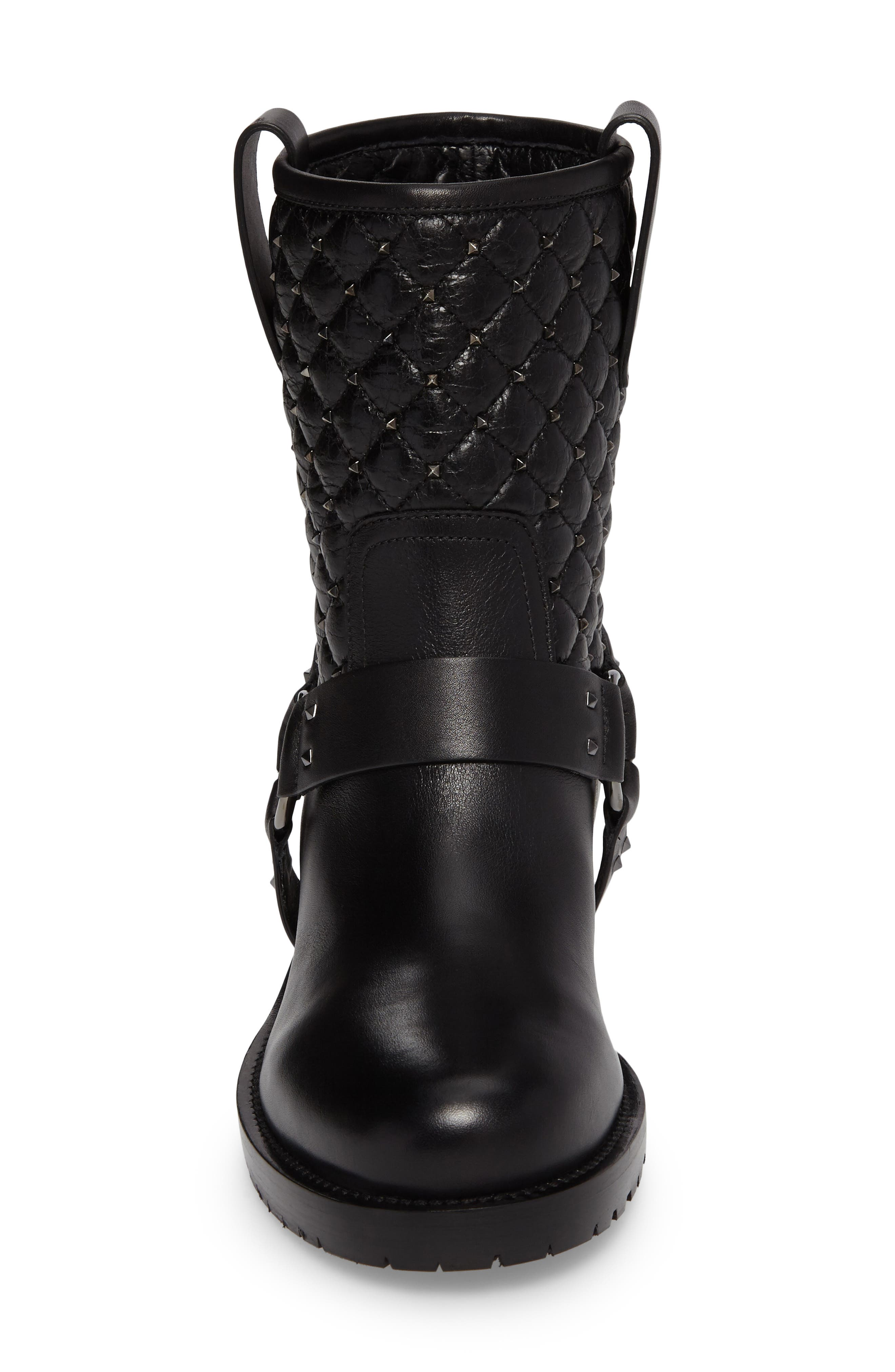 Rockstud Quilted Harness Bootie,                             Alternate thumbnail 4, color,                             001