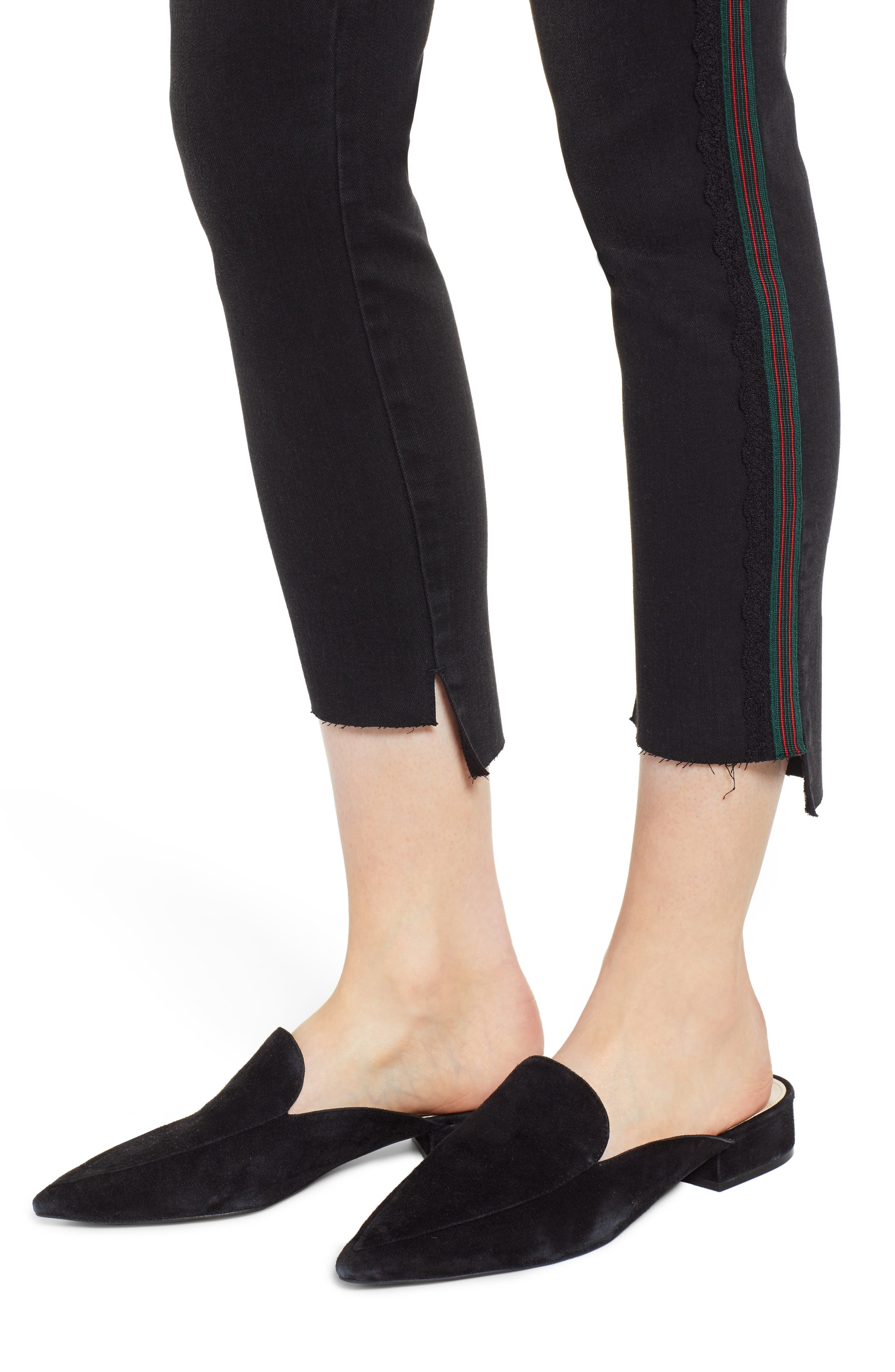 Ab-Solution Stripe High Waist Ankle Skinny Jeans,                             Alternate thumbnail 4, color,                             BLACK