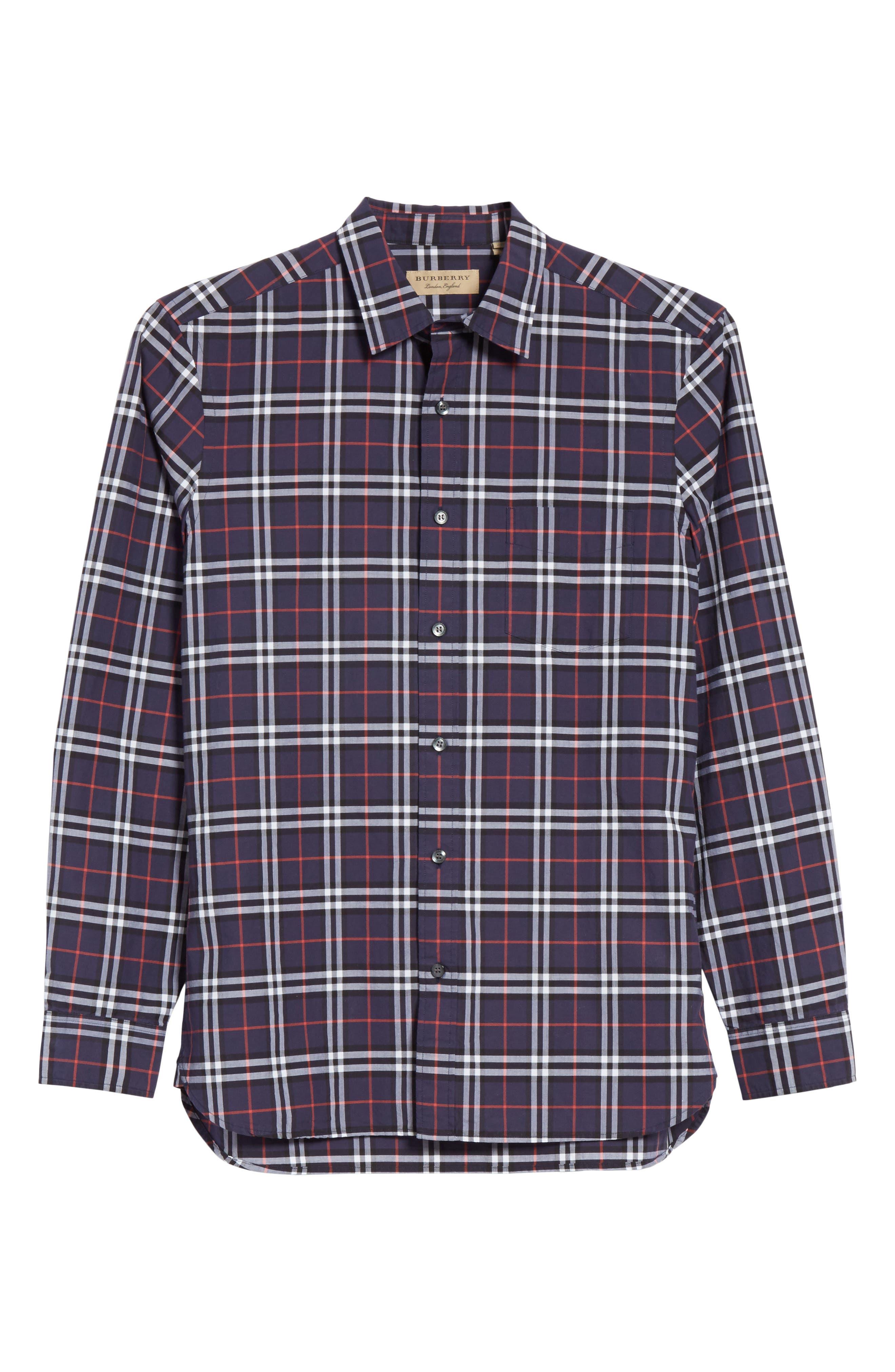Alexander Check Sport Shirt,                             Alternate thumbnail 6, color,                             NAVY