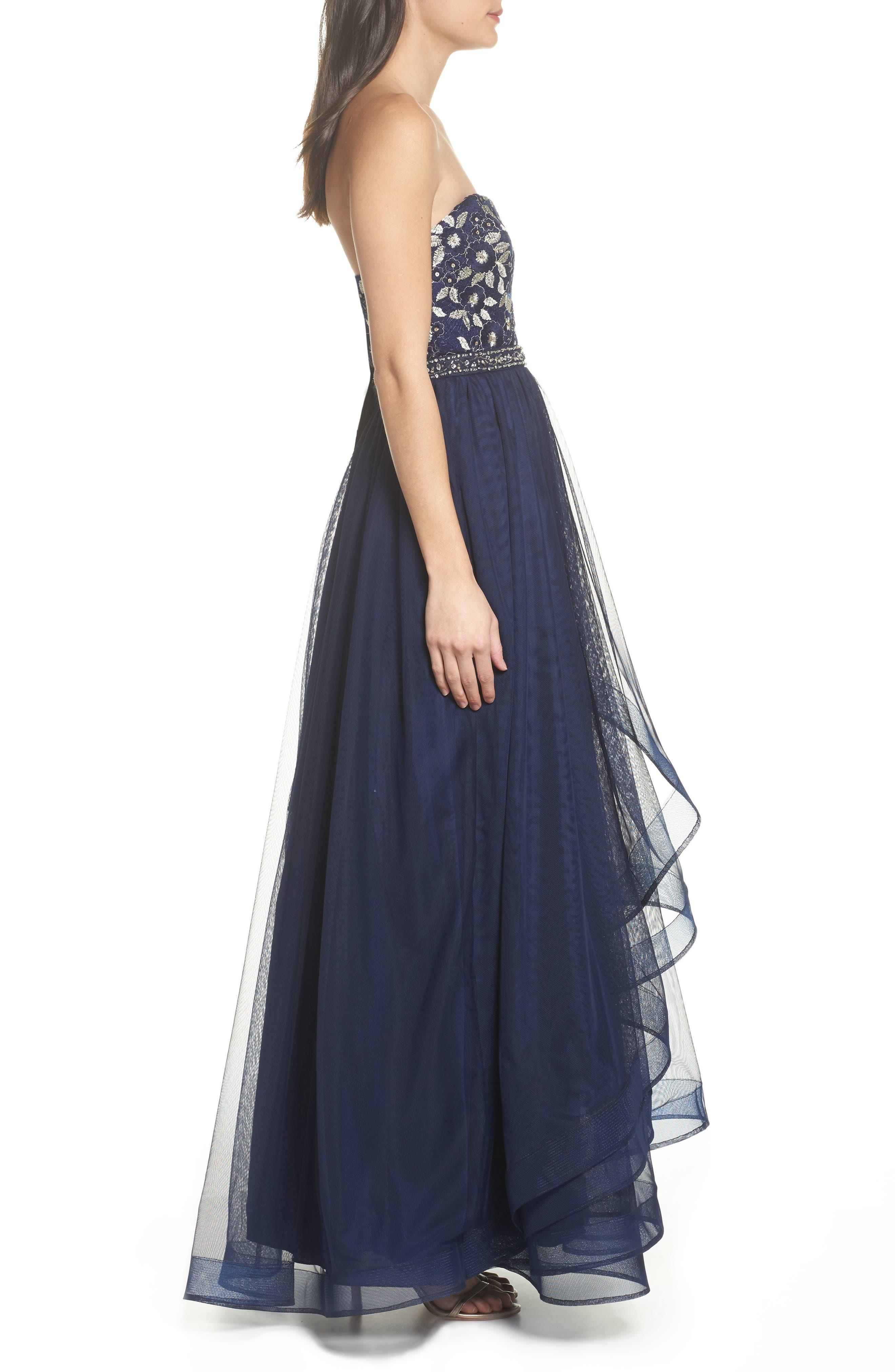 Strapless Lace & Tulle Gown,                             Alternate thumbnail 3, color,                             NAVY/ CHAMPAGNE