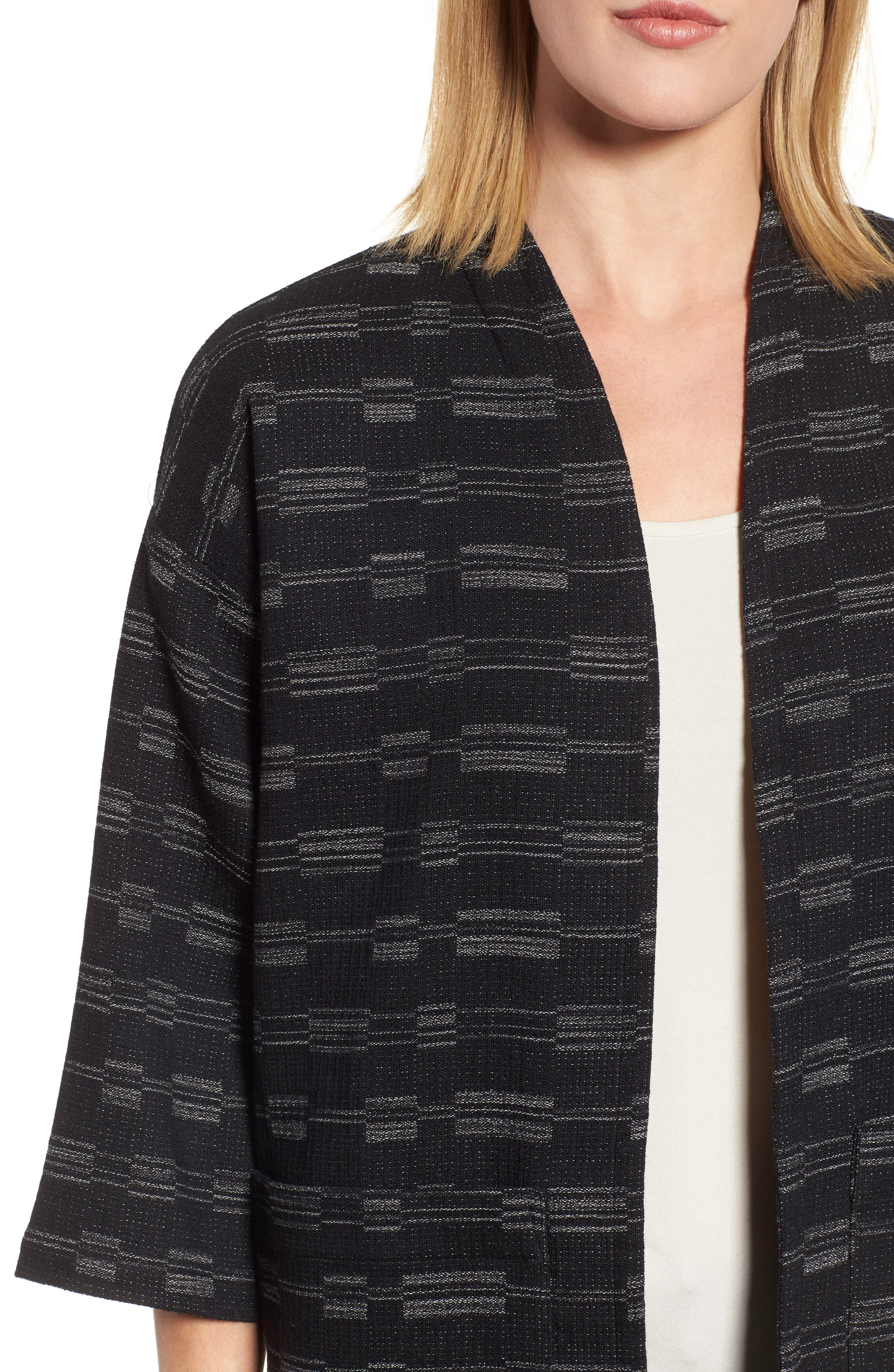 Organic Cotton Blend Tweed Jacket,                             Alternate thumbnail 4, color,                             001
