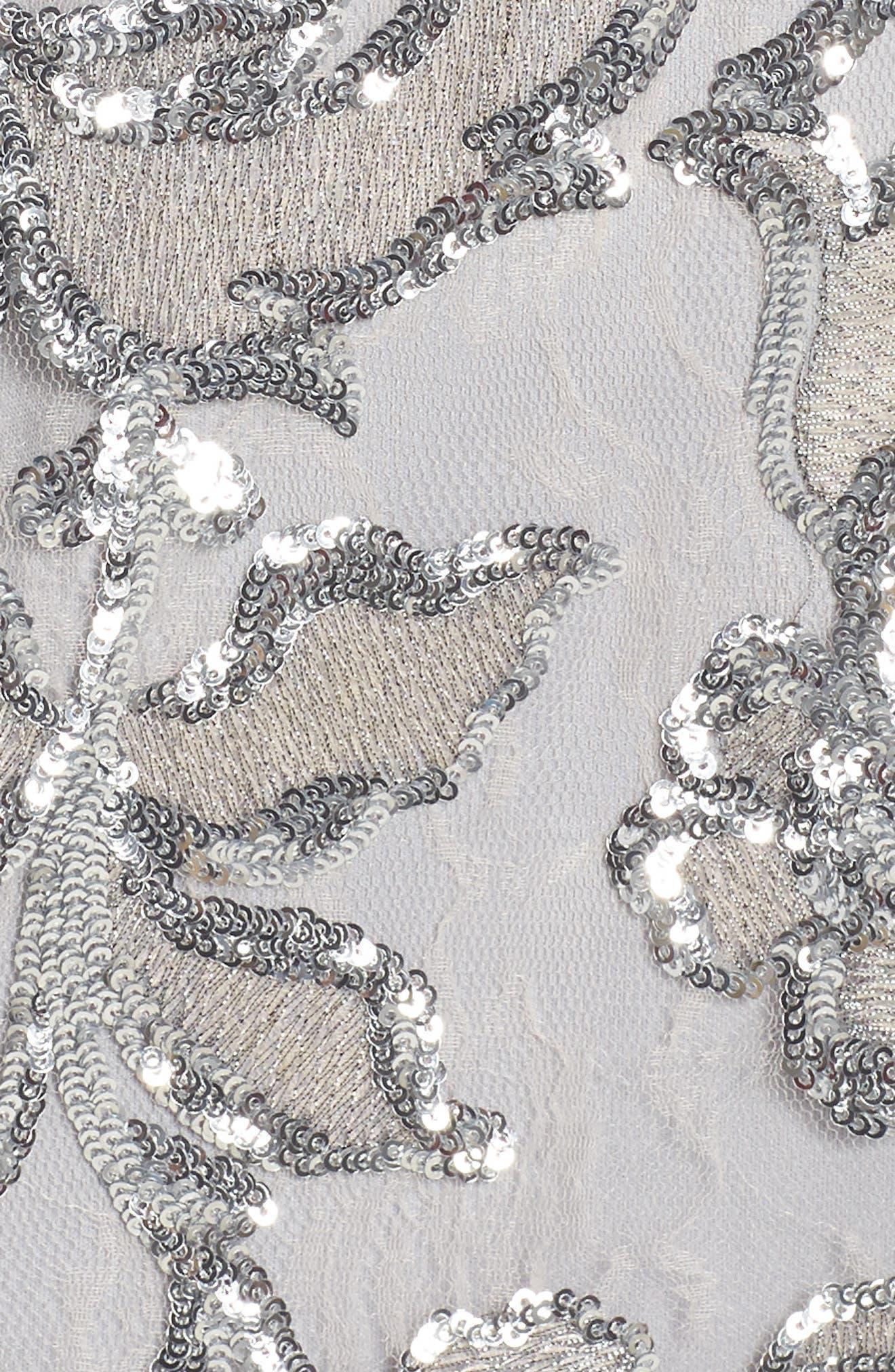 Floral Sequin Sheath Dress,                             Alternate thumbnail 6, color,                             SILVER
