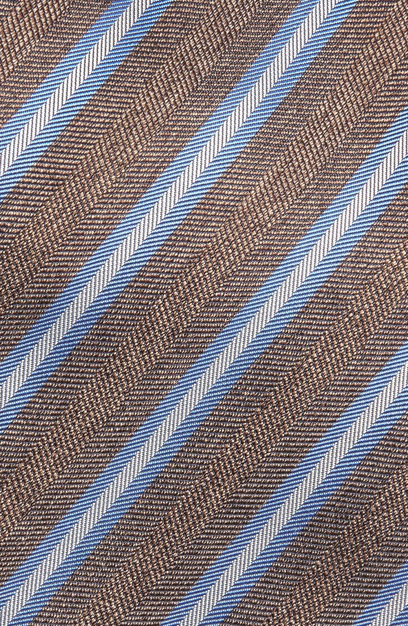 Stripe Silk & Cotton Tie,                             Alternate thumbnail 2, color,                             CHOCOLATE