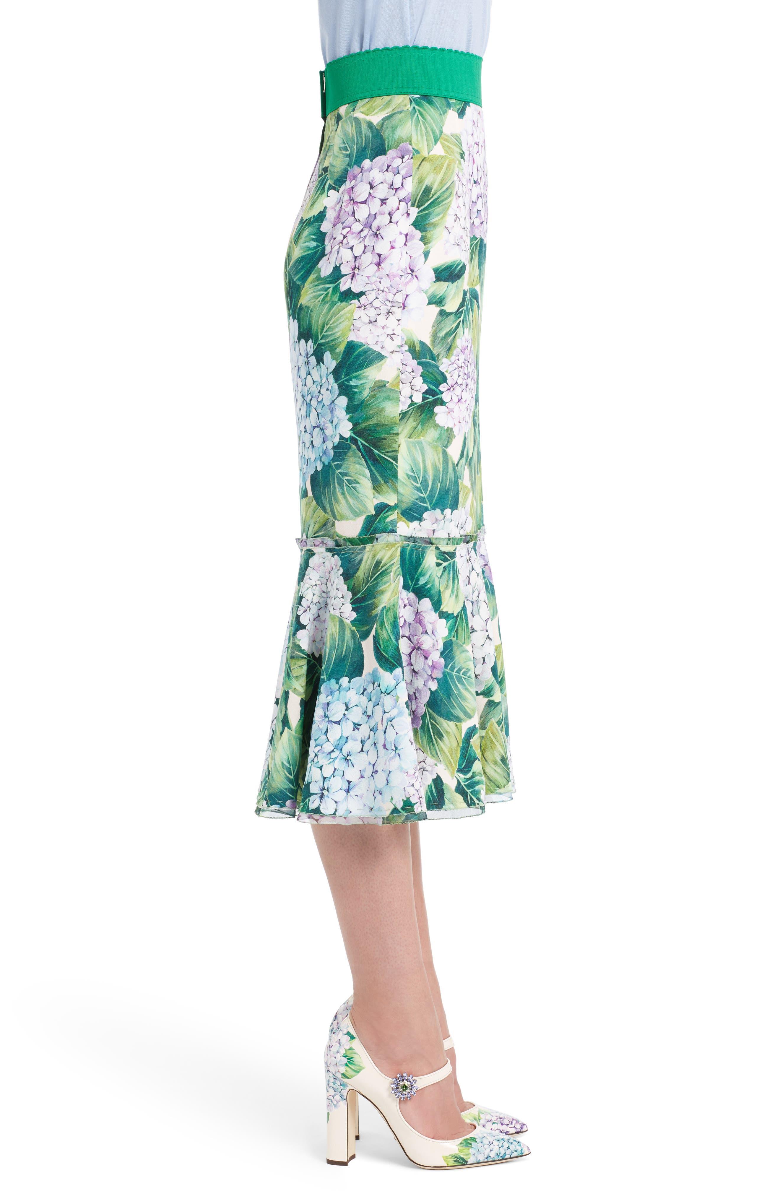 Hydrangea Print Ruffle Hem Skirt,                             Alternate thumbnail 3, color,                             300