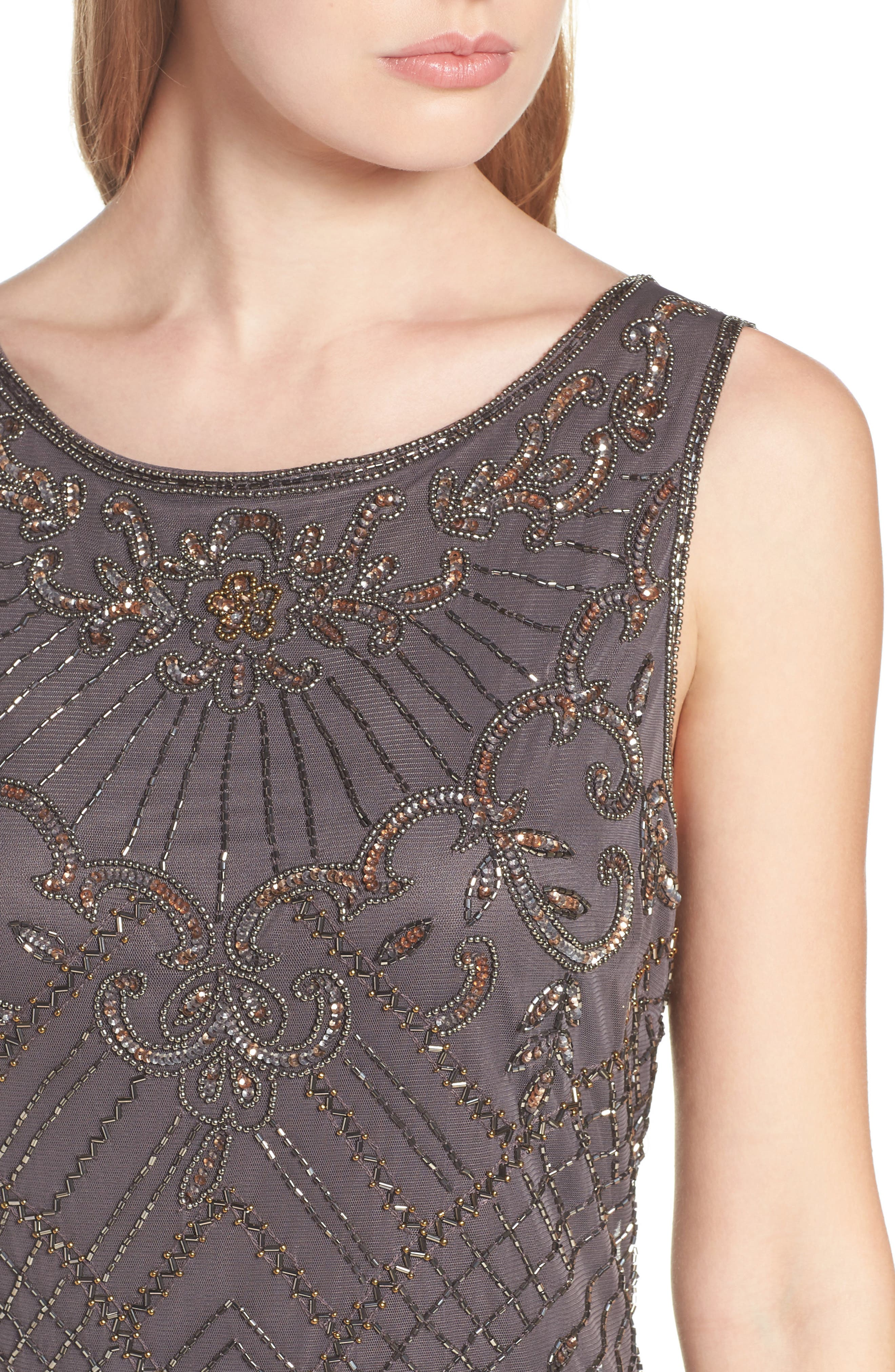 Embroidered Mesh Gown,                             Alternate thumbnail 8, color,