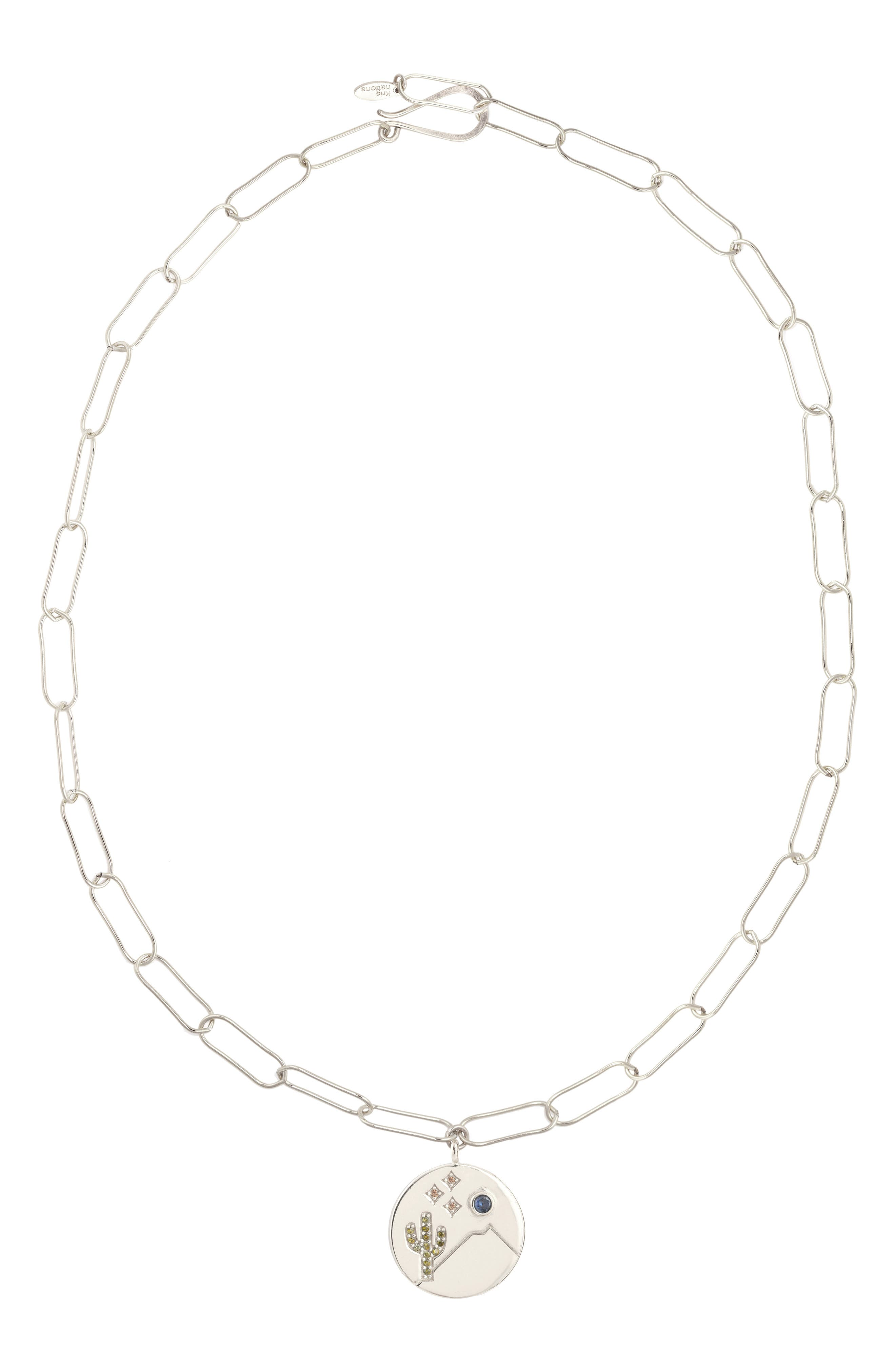 KRIS NATIONS,                             Double-Sided Happy Camper Pendant Necklace,                             Main thumbnail 1, color,                             SILVER