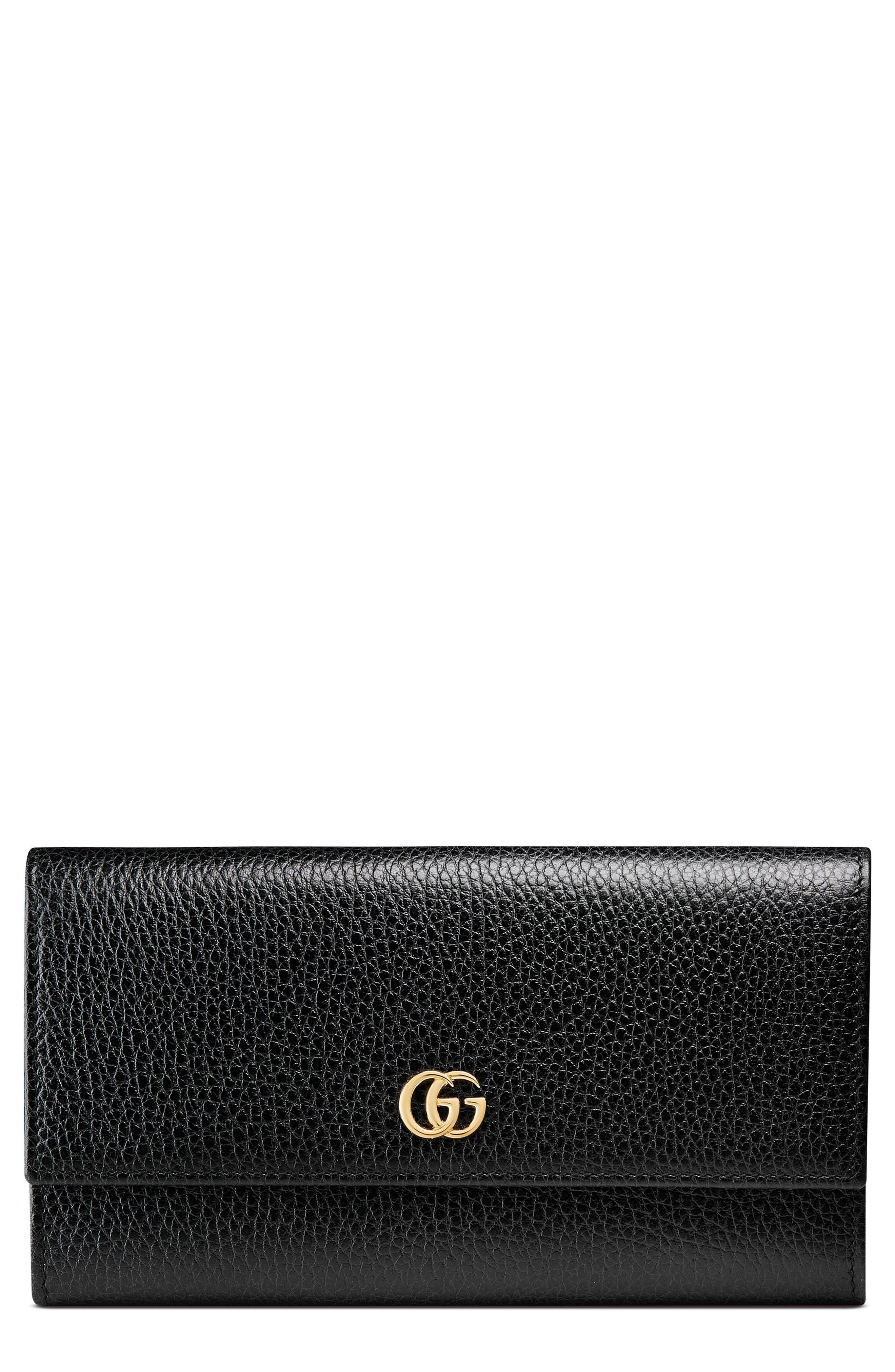Petite Marmont Leather Continental Wallet,                         Main,                         color, NERO/ NERO