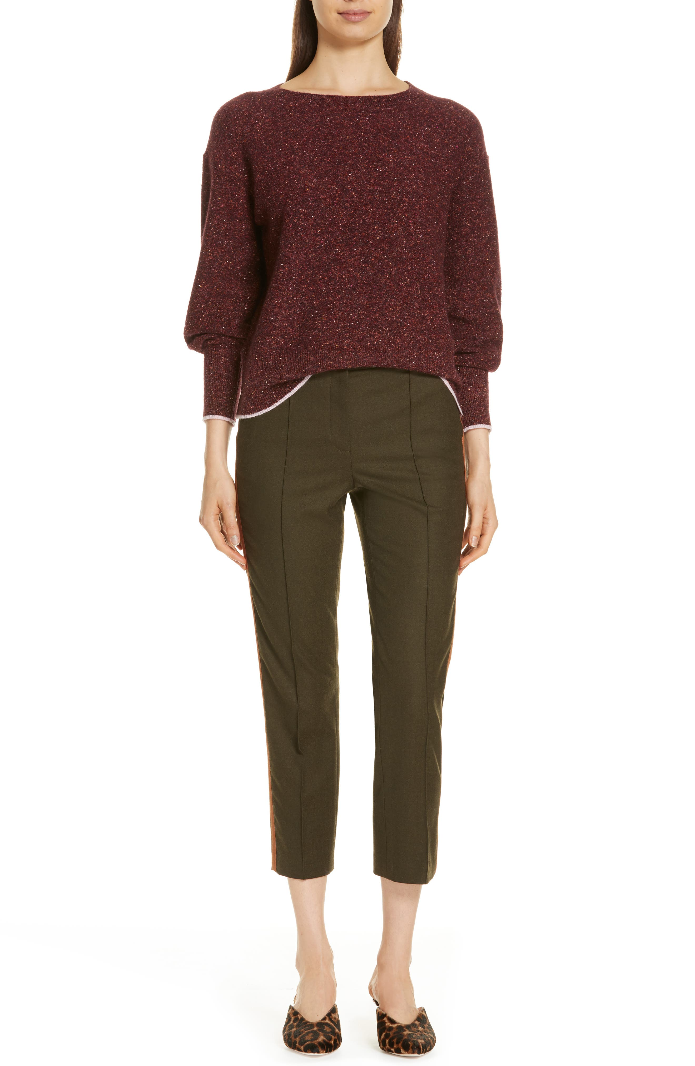 Side Stripe Stretch Flannel Pants,                             Alternate thumbnail 7, color,                             301