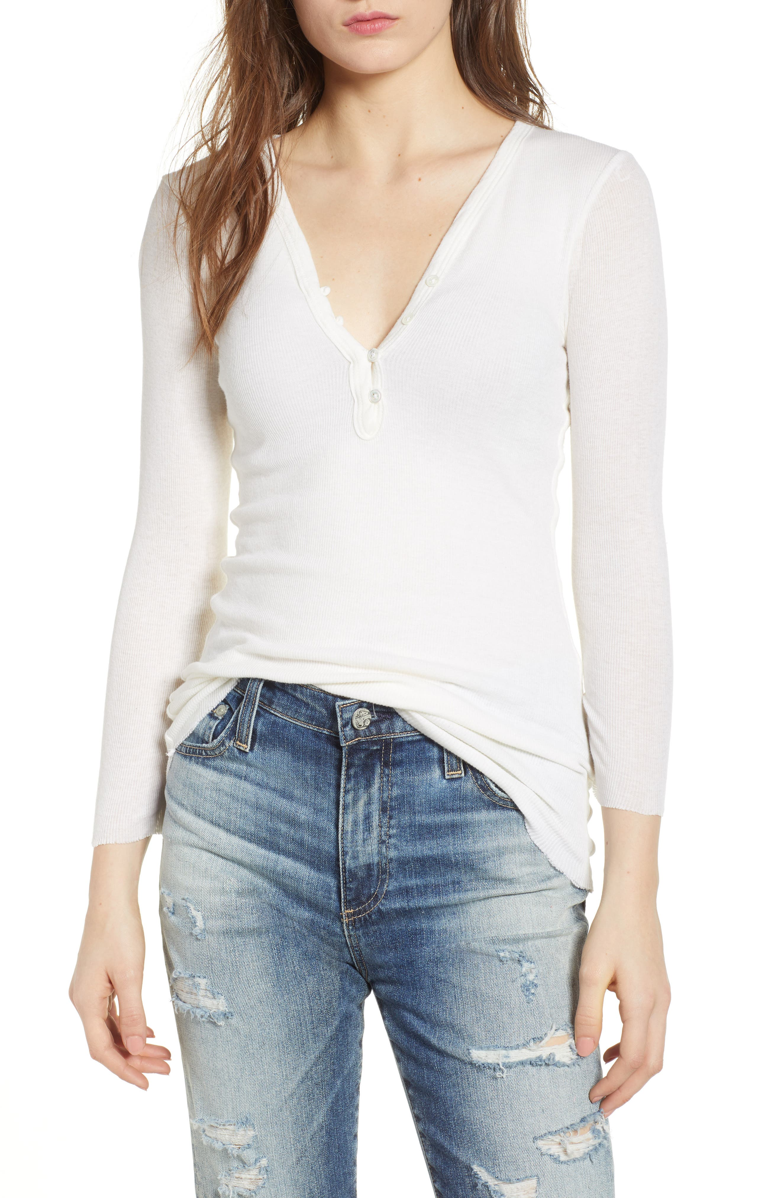 Ribbed Cotton & Cashmere Henley,                             Main thumbnail 2, color,
