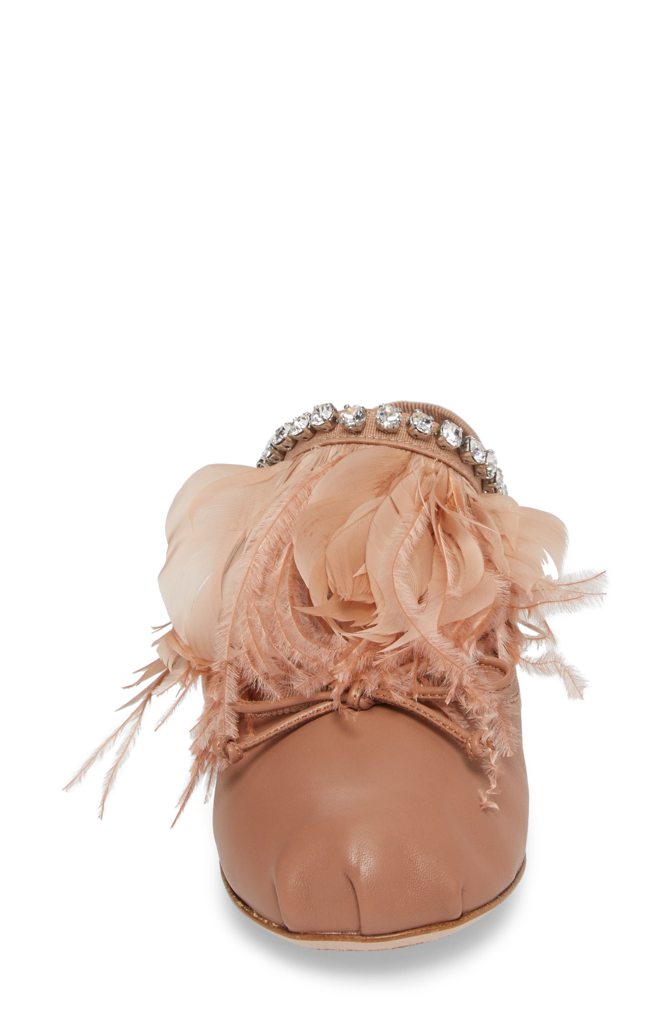 Feather Embellished Ballet Flat,                             Alternate thumbnail 4, color,