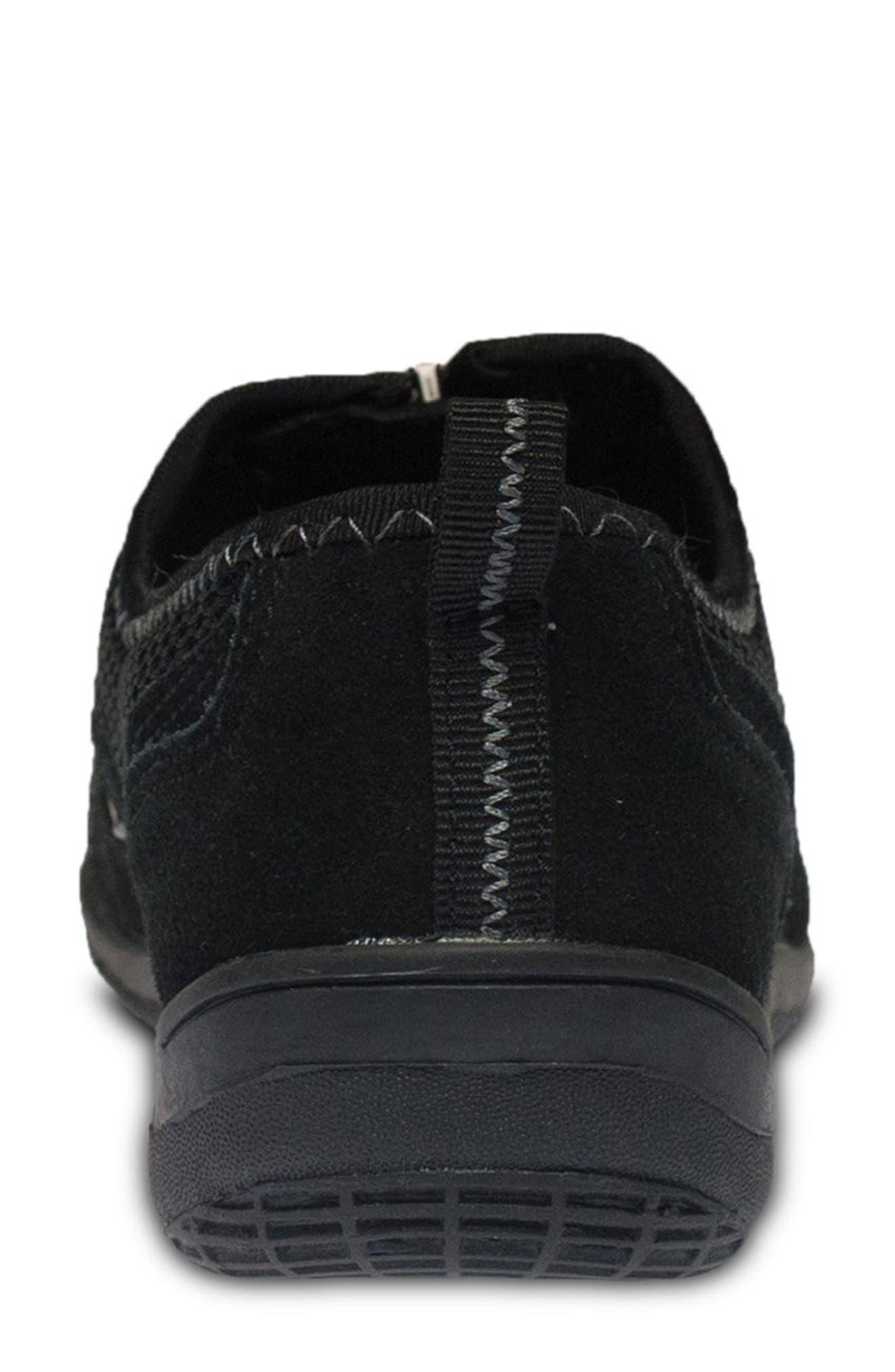 Racer Slip-On Sneaker,                             Alternate thumbnail 6, color,                             BLACK LEATHER