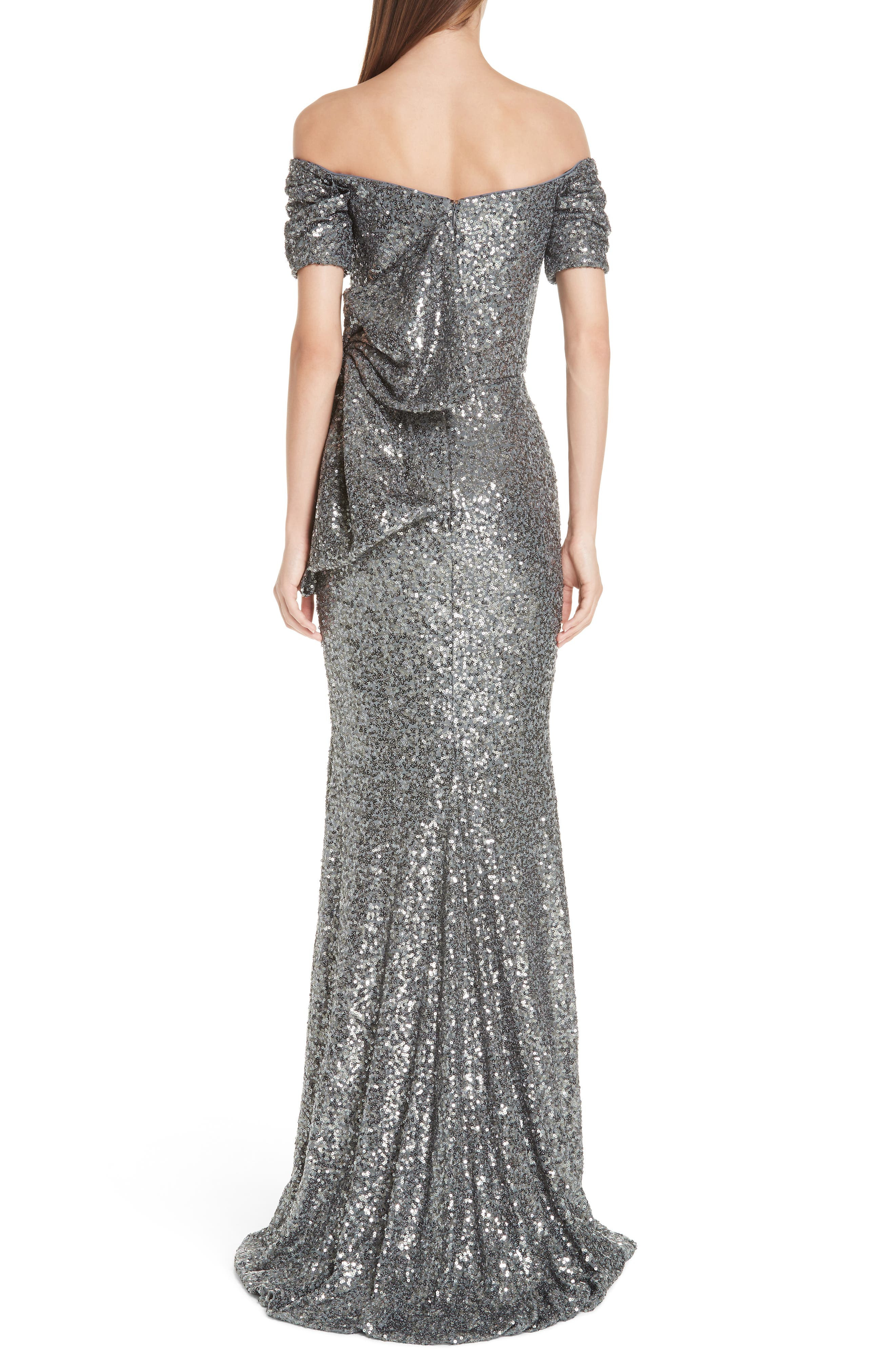 Bow Detail Sequin Off the Shoulder Gown,                             Alternate thumbnail 2, color,                             CHARCOAL