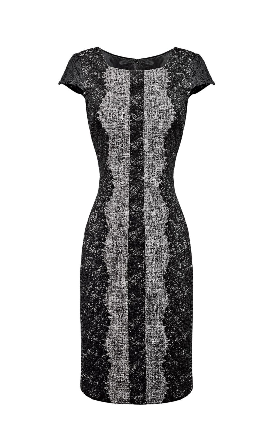 Lace Trim Tweed Sheath Dress,                             Alternate thumbnail 7, color,                             020