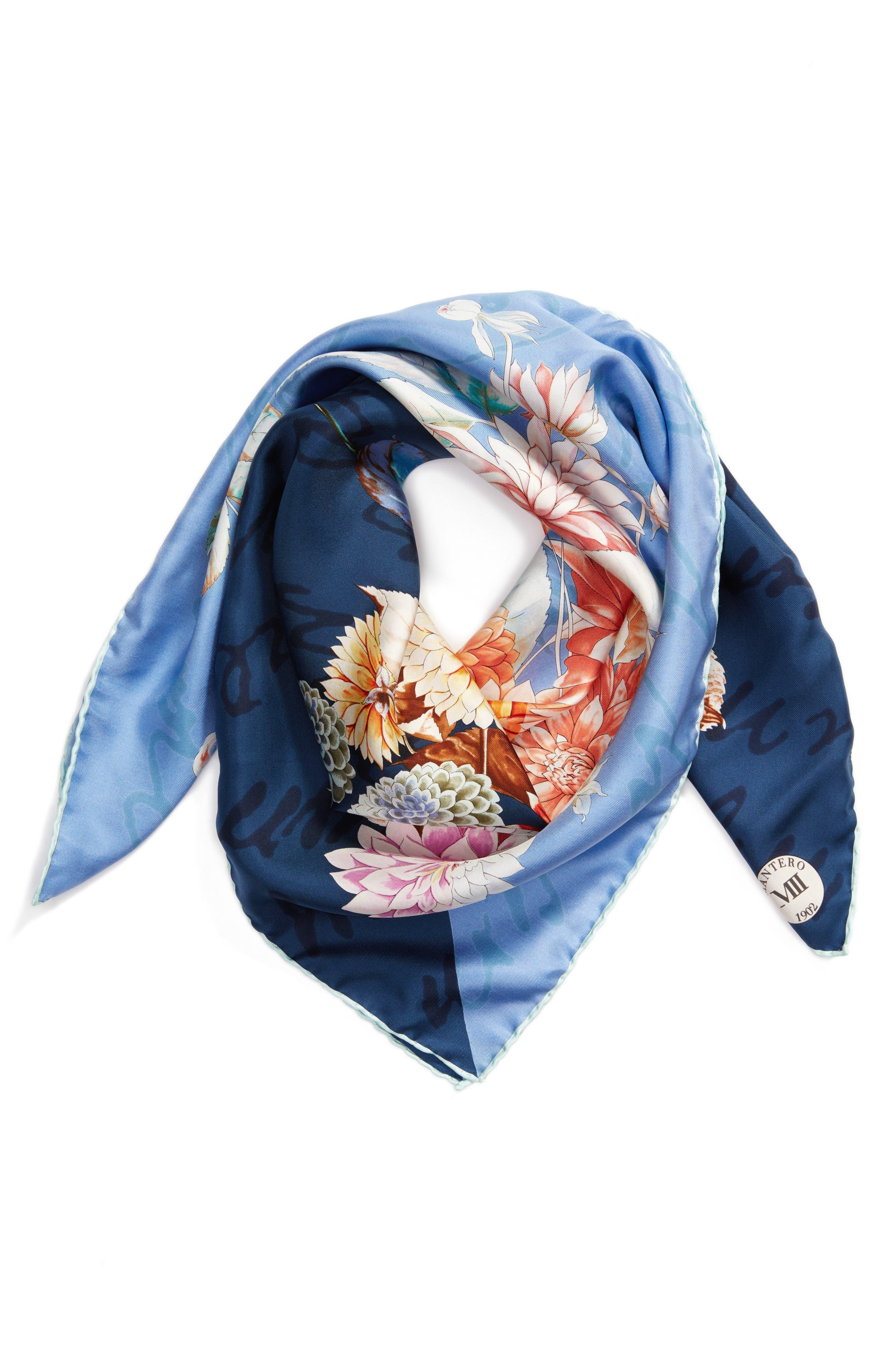 Archivio N.12 Square Silk Scarf,                         Main,                         color, BLUE