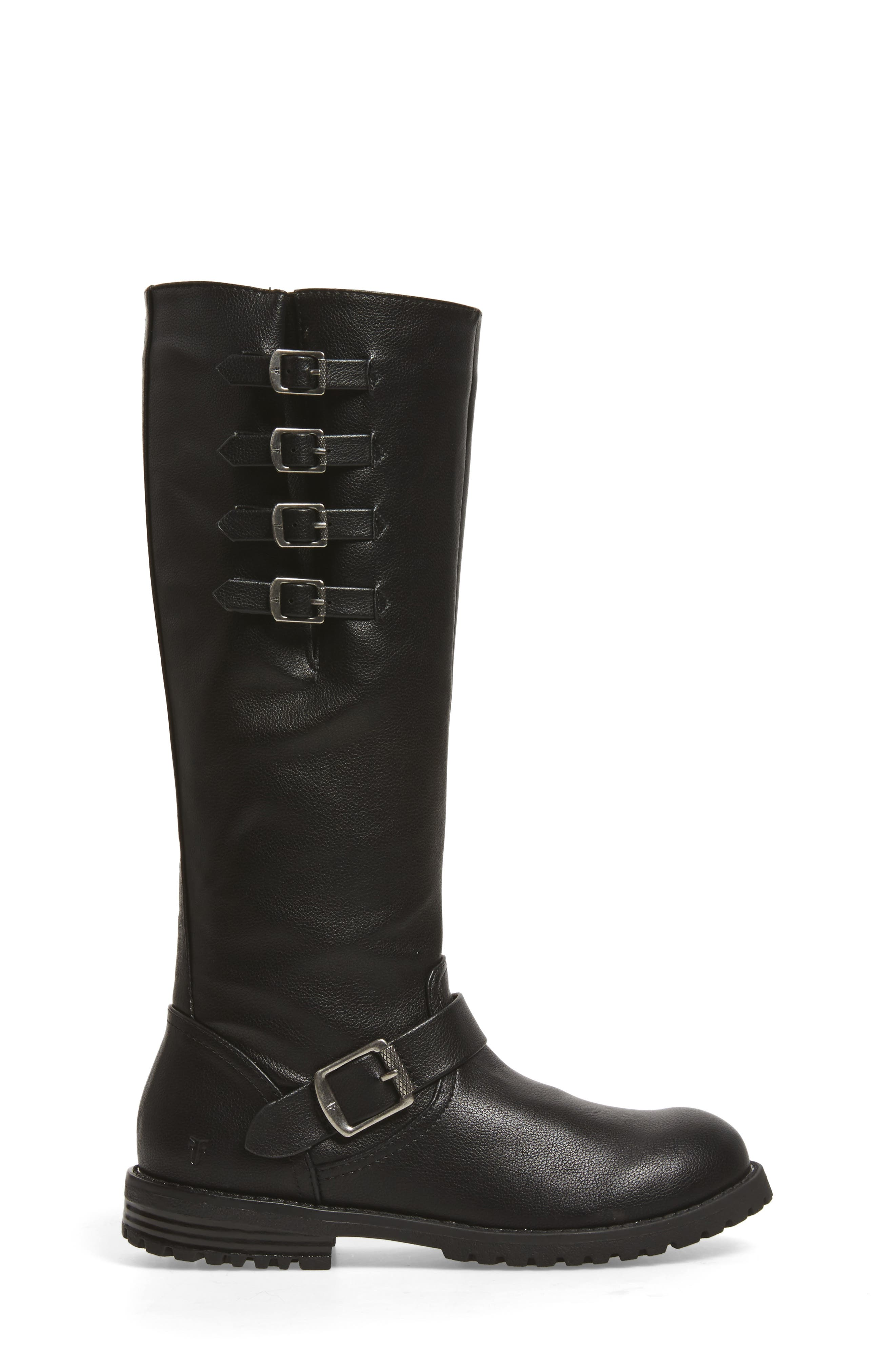Veronica Tall Buckle Strap Boot,                             Alternate thumbnail 3, color,                             BLACK