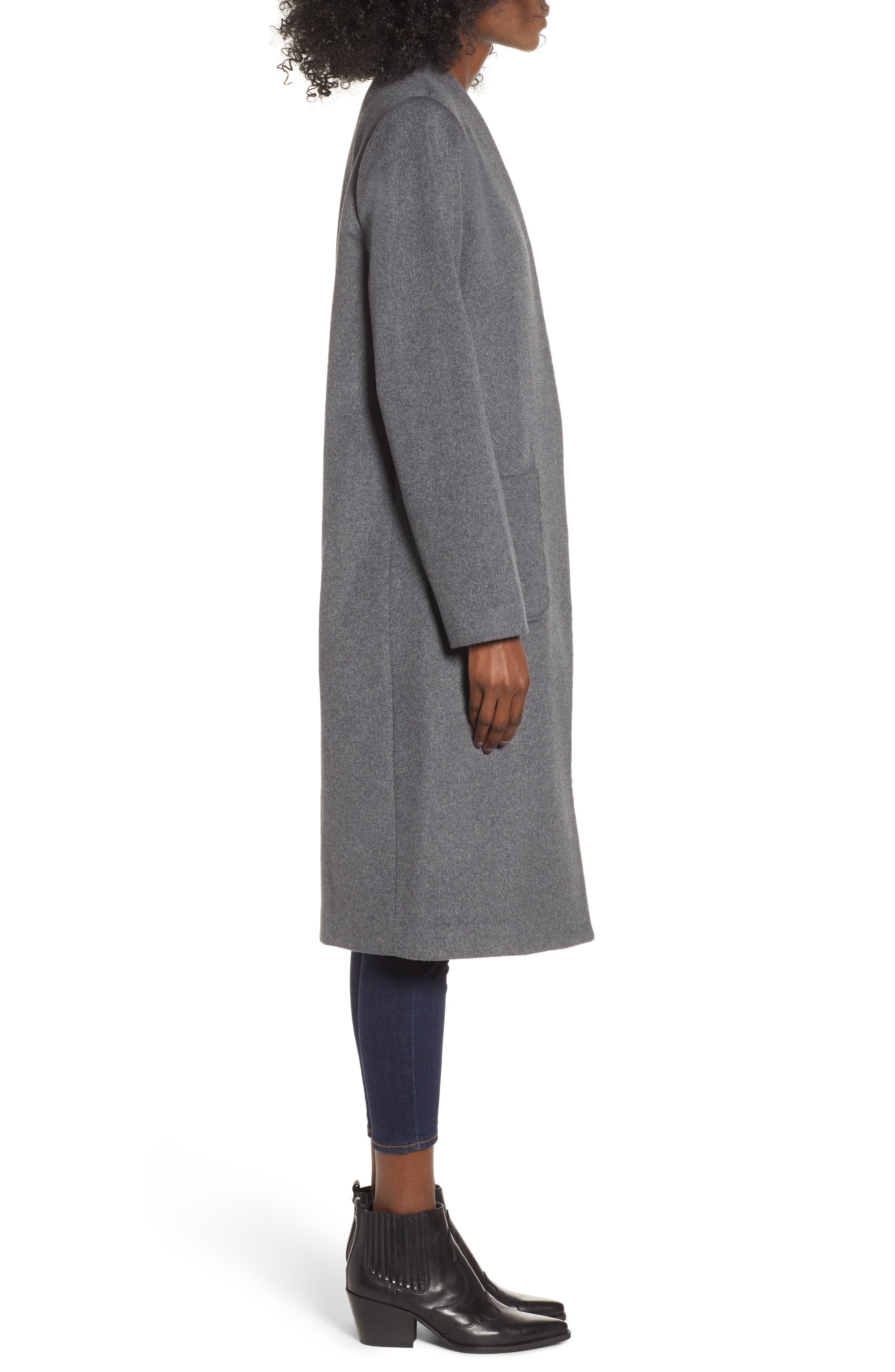 MURAL,                             Long Open Front Coat,                             Alternate thumbnail 3, color,                             CHARCOAL GREY