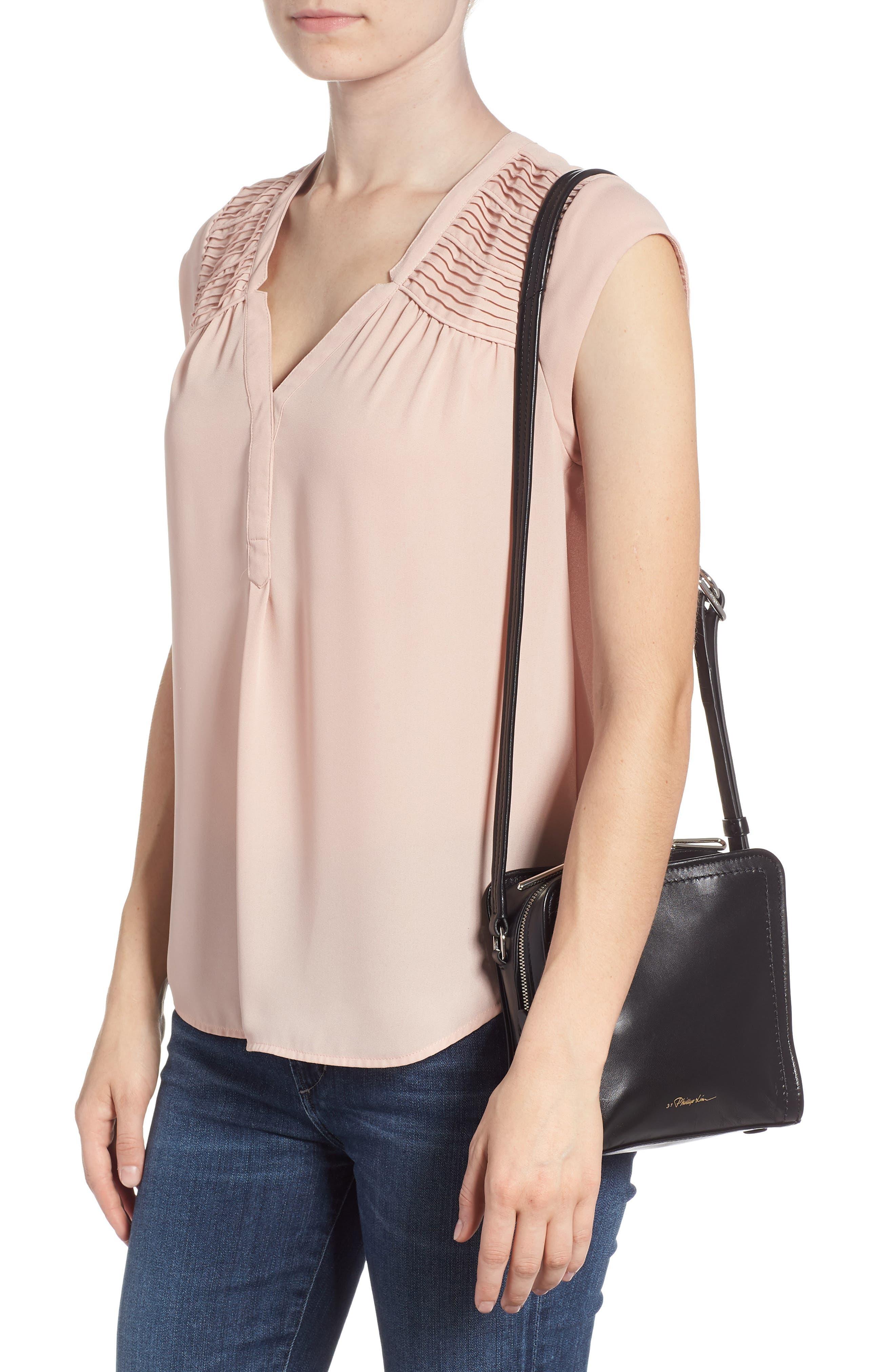 Hudson Mini Square Leather Crossbody Bag,                             Alternate thumbnail 2, color,                             001