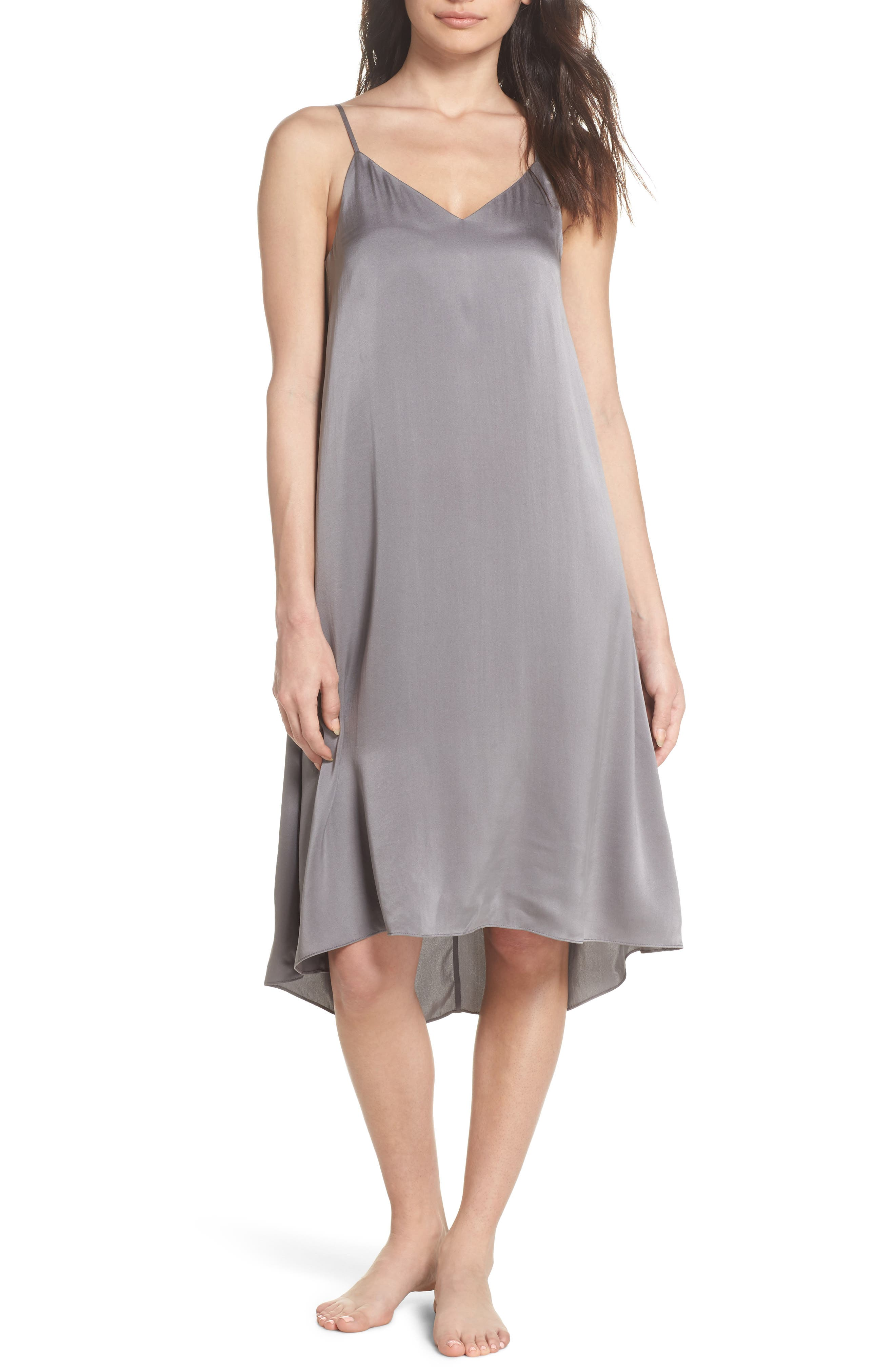 Silk Nightgown,                         Main,                         color, CHARCOAL