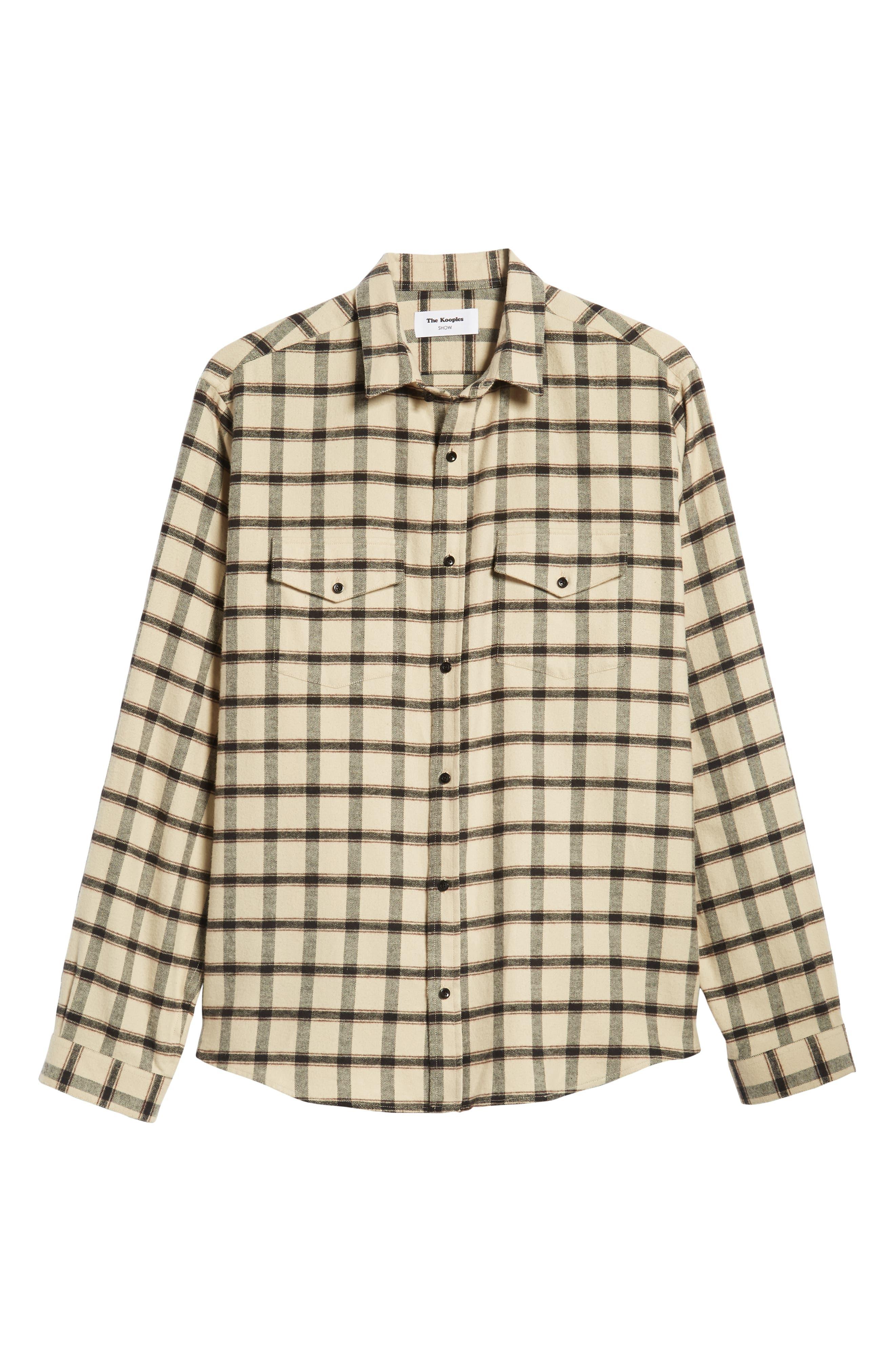 Long Sleeve Plaid Regular Fit Sport Shirt,                             Alternate thumbnail 5, color,                             BEIGE/ BLACK