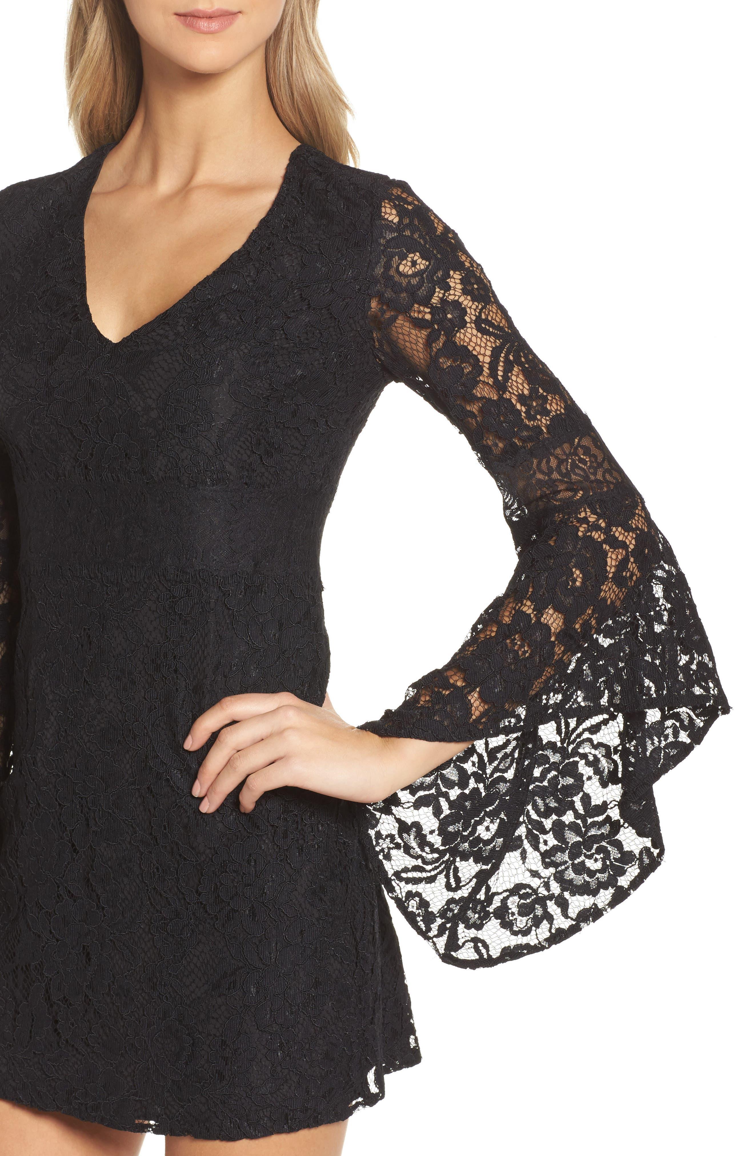 Le Fete Lace Bell Sleeve Dress,                             Alternate thumbnail 4, color,                             001