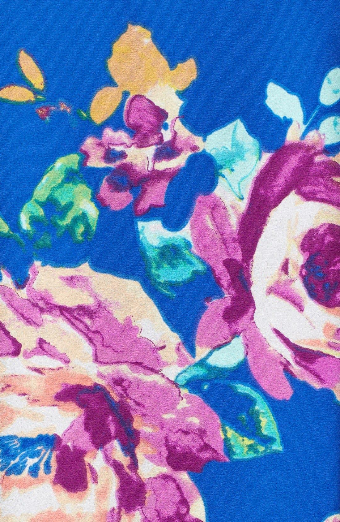 Floral Print High Neck Trapeze Dress,                             Alternate thumbnail 4, color,                             463