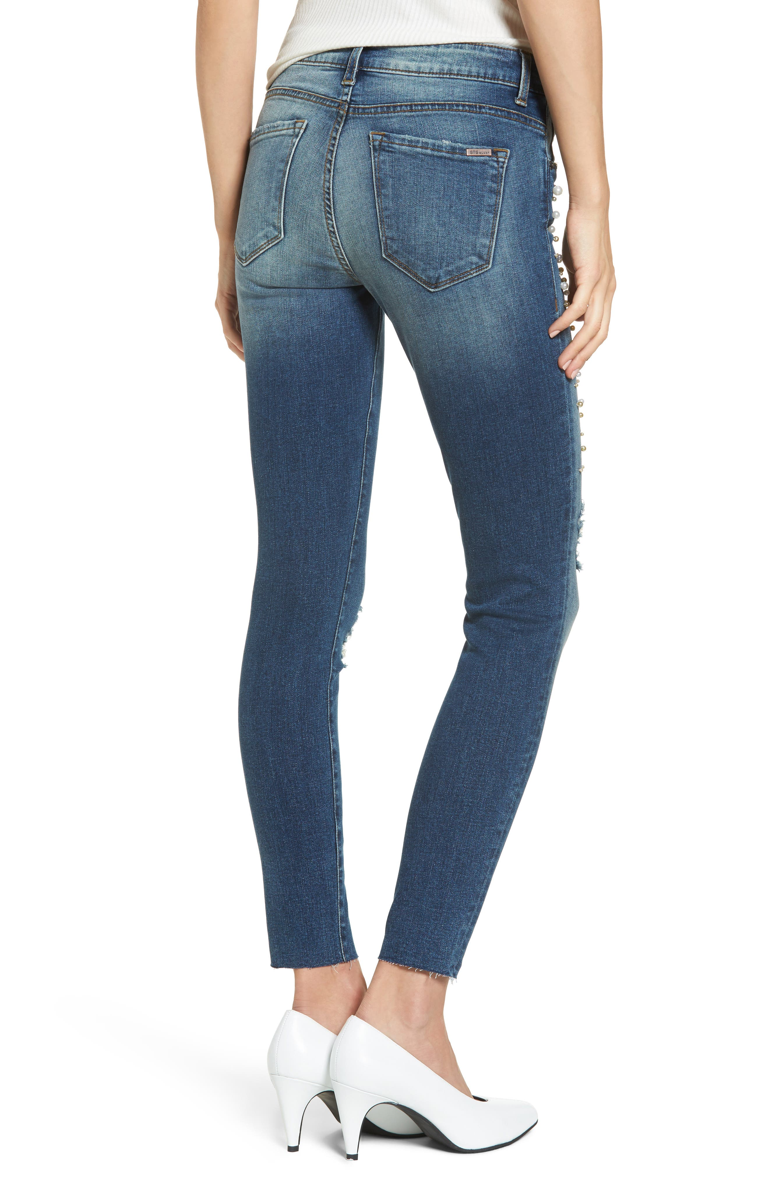 Piper Pearly Detail Ankle Skinny Jeans,                             Alternate thumbnail 2, color,                             400