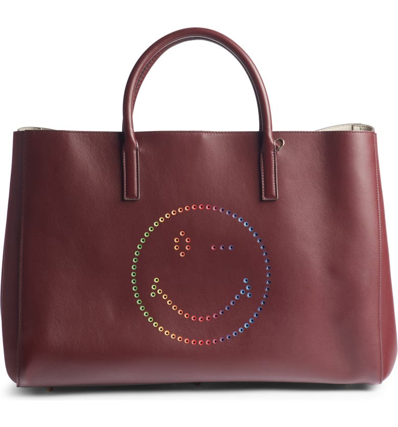 Anya Hindmarch Leathers EBURY RAINBOW SMILEY LEATHER TOTE - BURGUNDY
