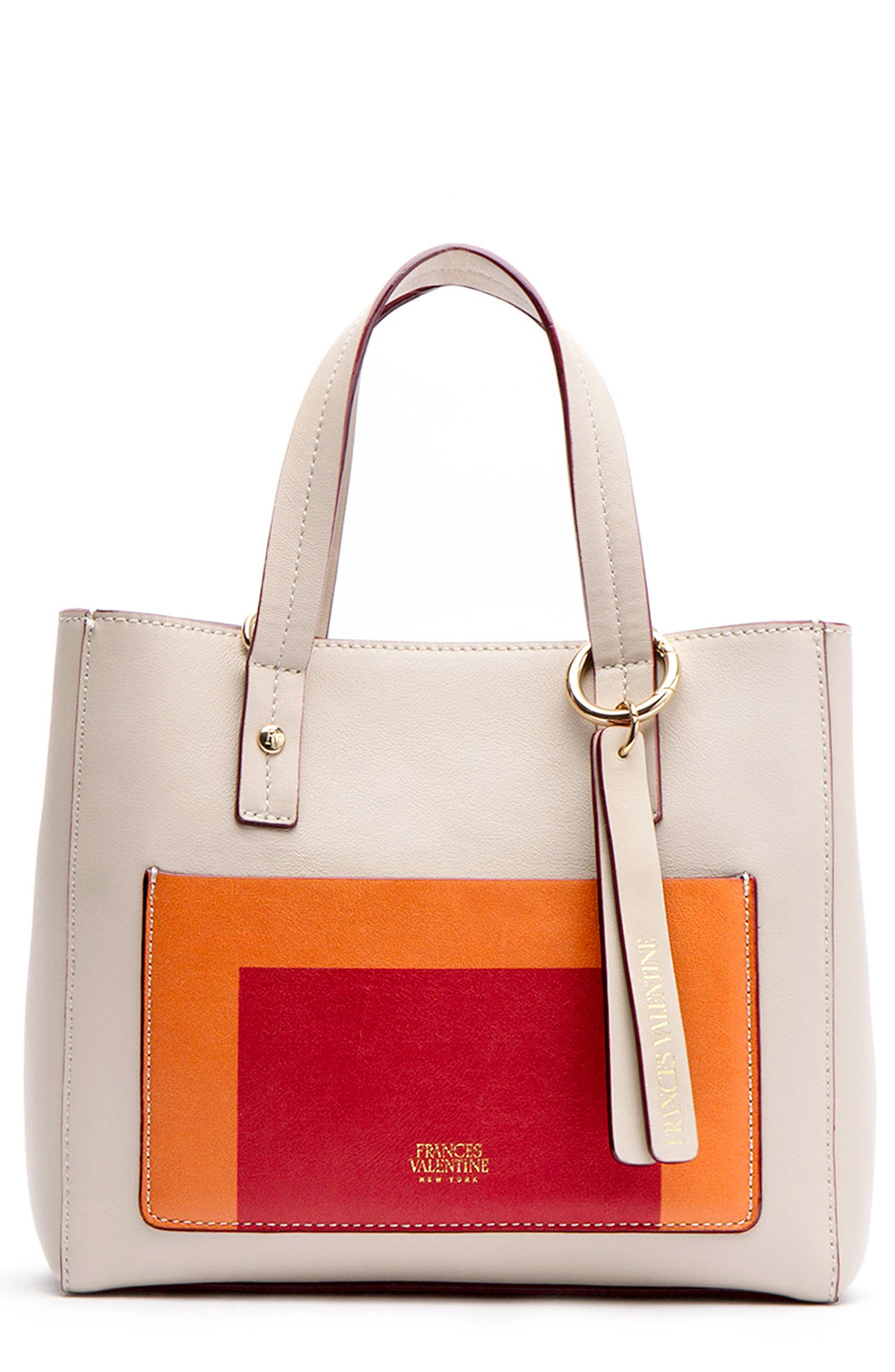 FRANCES VALENTINE Small Chloe Leather Satchel - Beige in Oyster/ Multi