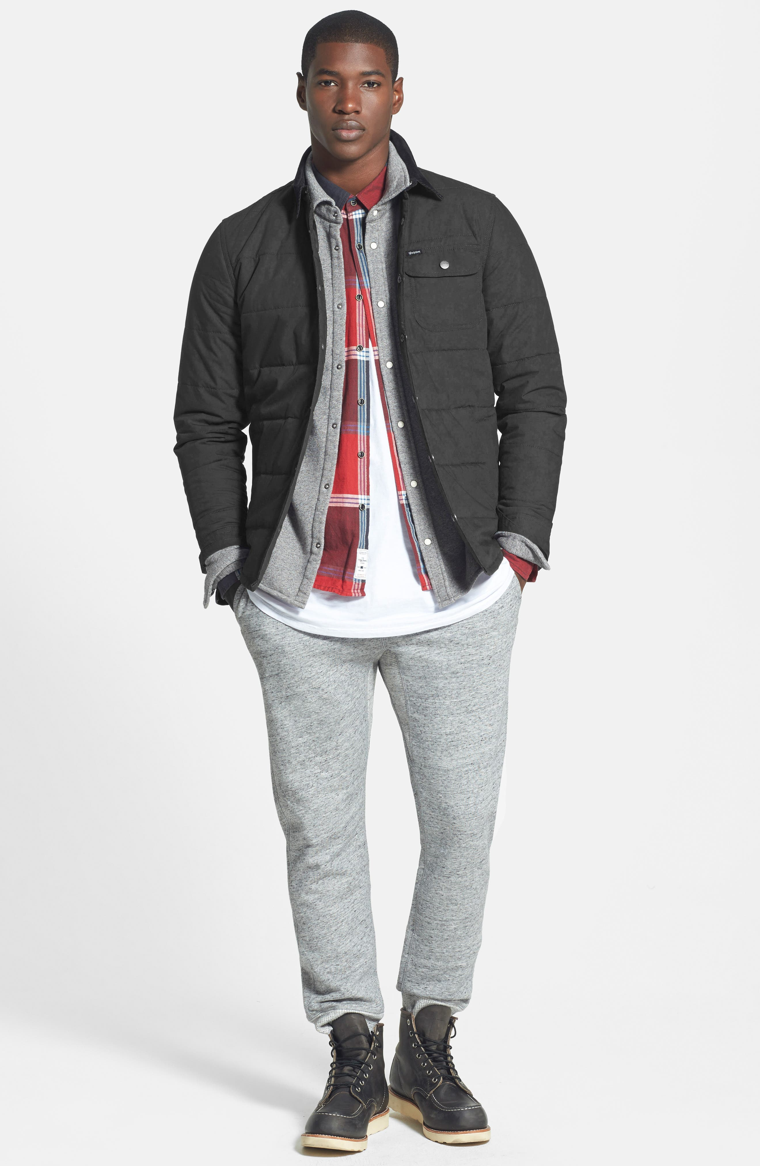 'Cass' Quilted Shirt Jacket with Corduroy Collar,                             Alternate thumbnail 5, color,