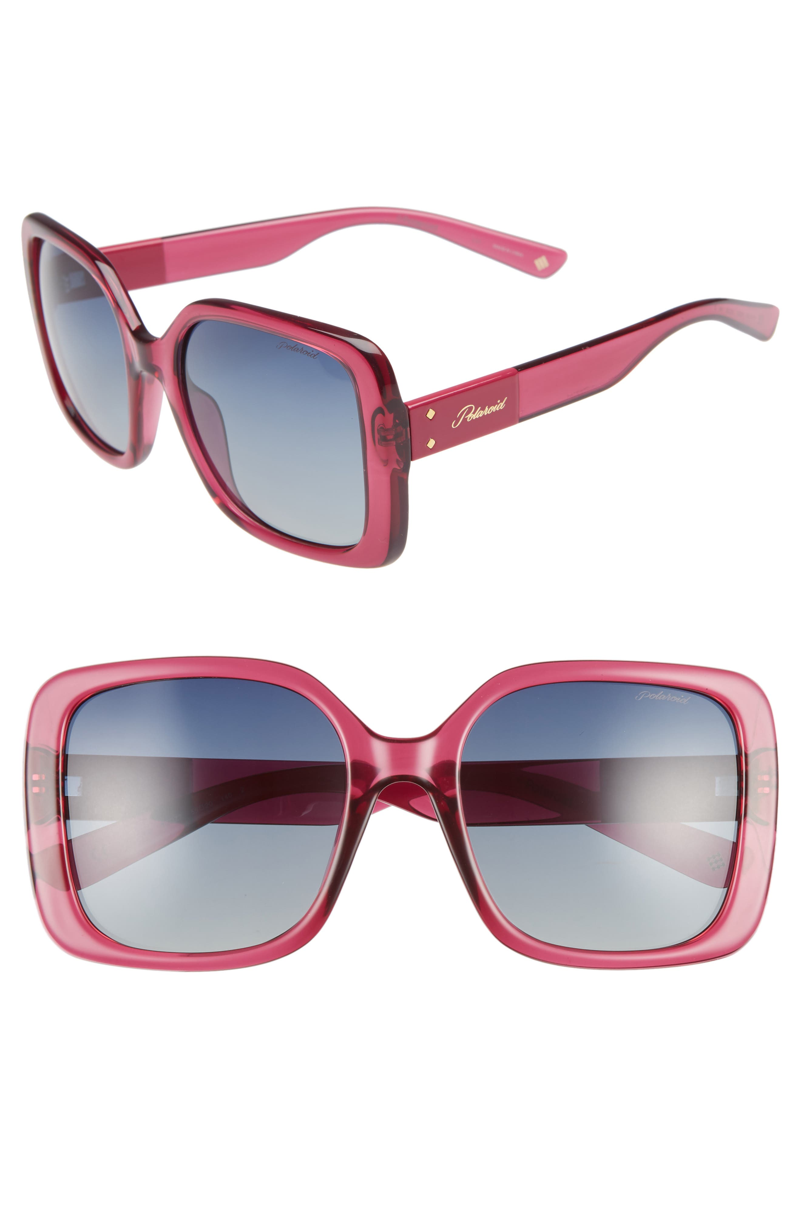 Polaroid 55Mm Polarized Square Sunglasses - Cherry