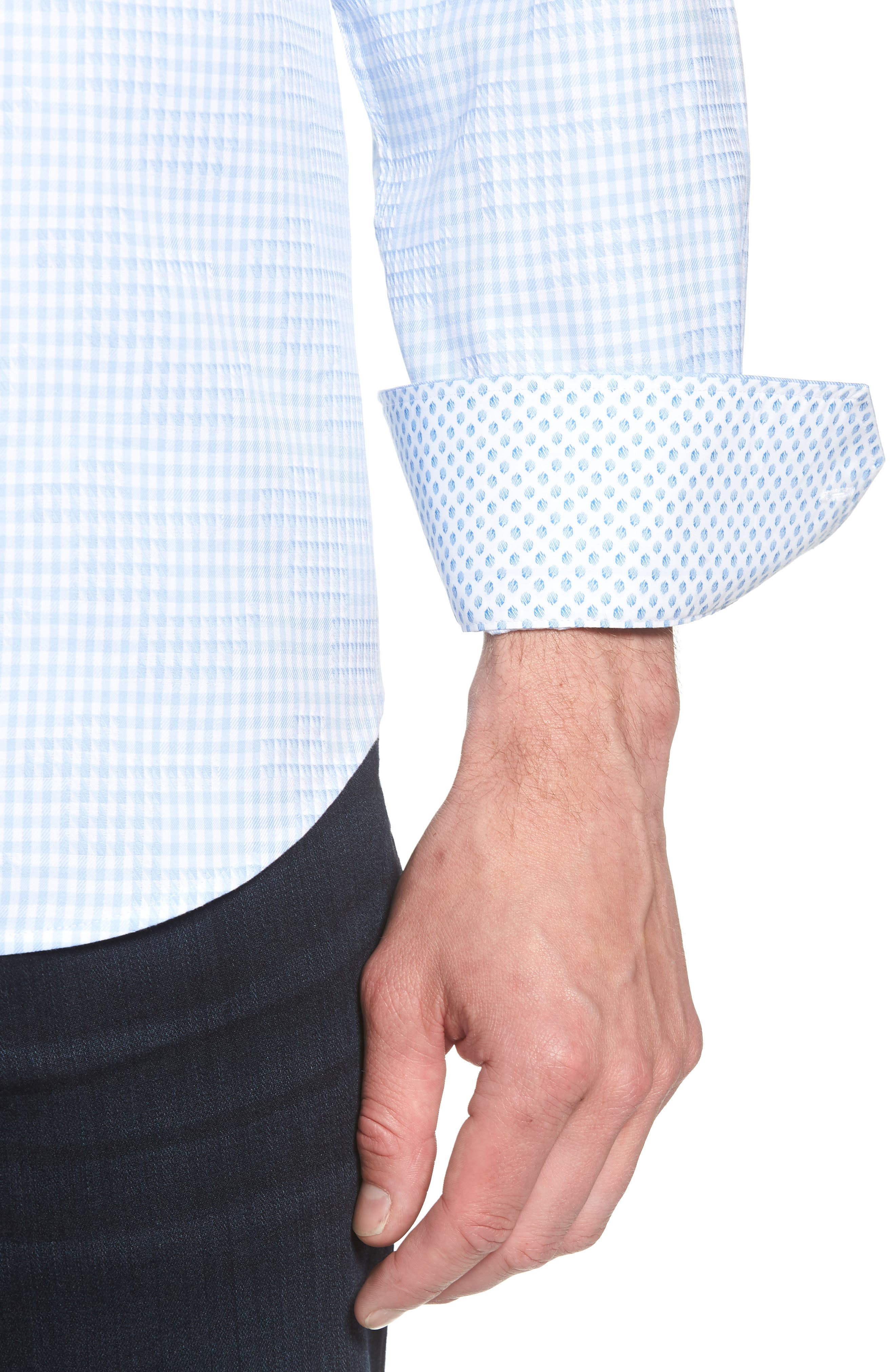 Shaped Fit Gingham Sport Shirt,                             Alternate thumbnail 4, color,                             459