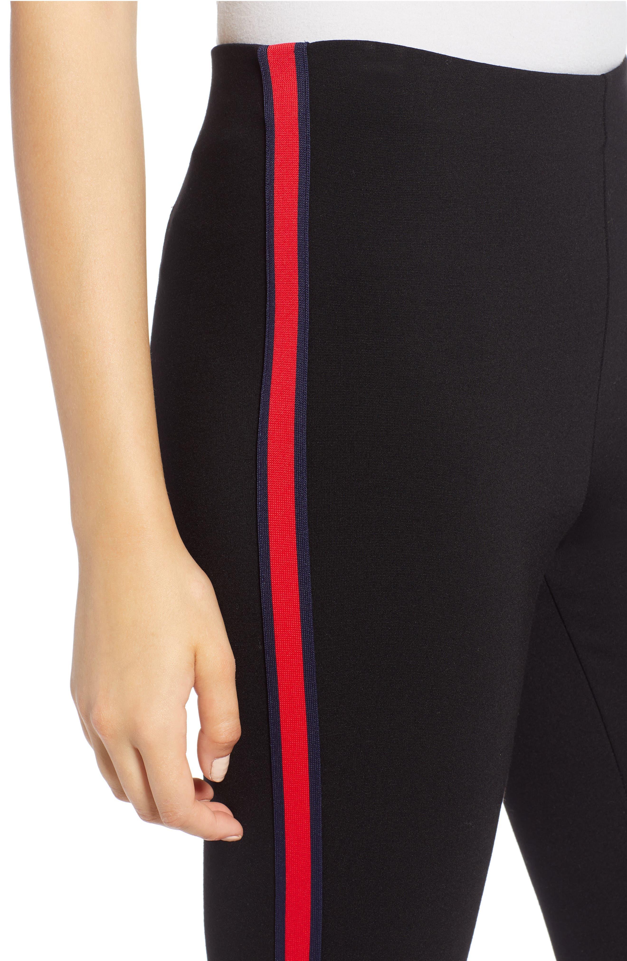 Side Stripe Ponte Pants,                             Alternate thumbnail 4, color,                             BLACK