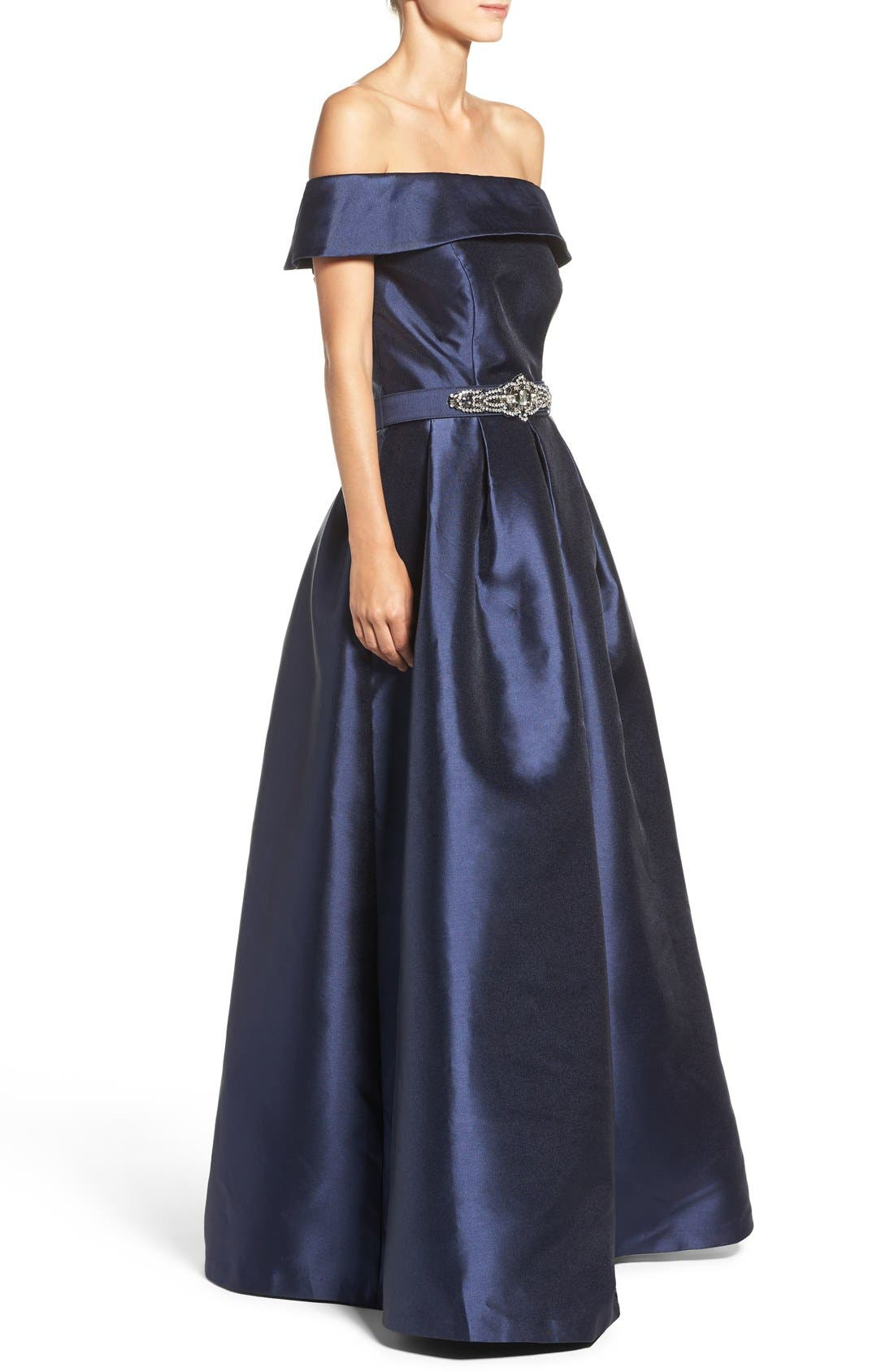 Belted Mikado Ballgown,                             Alternate thumbnail 2, color,                             410