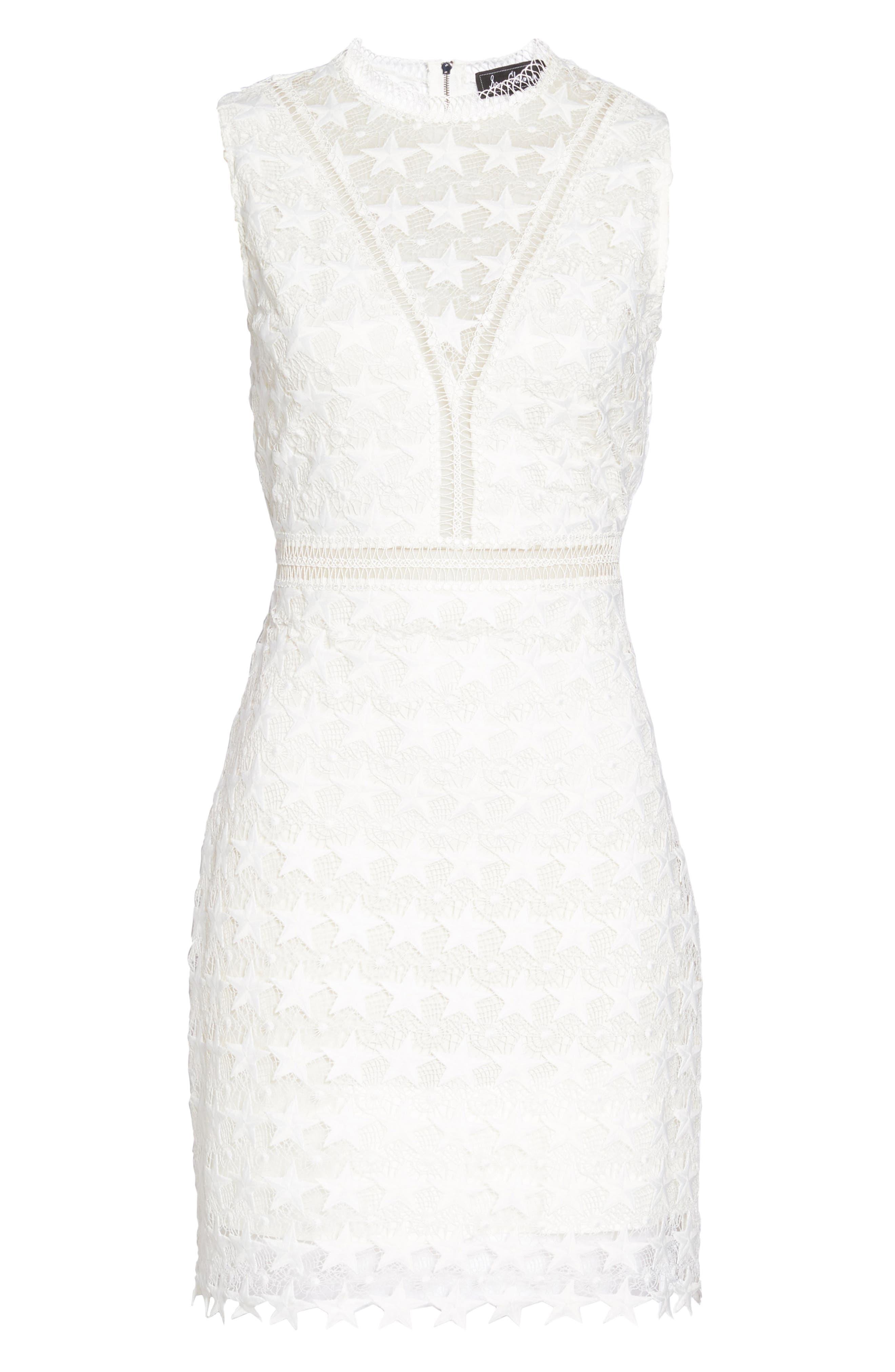 Star Lace Sheath Dress,                             Alternate thumbnail 7, color,                             IVORY