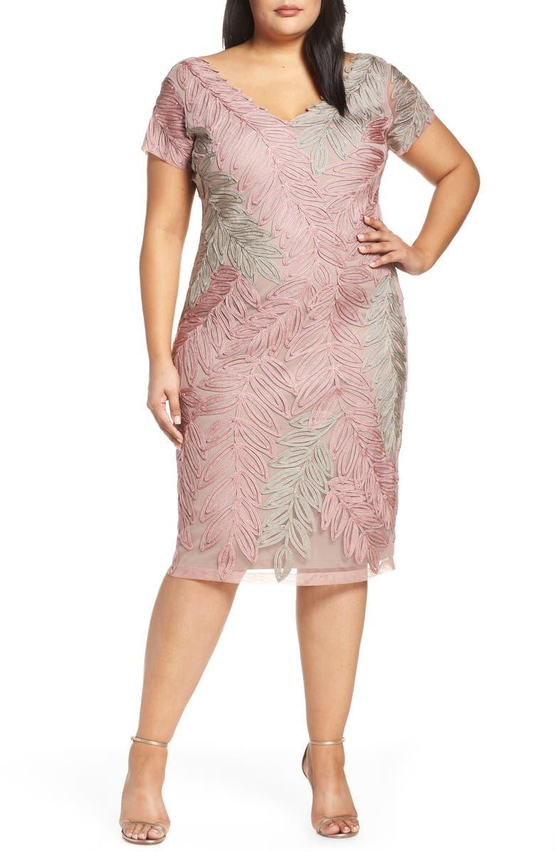 9a48c1ad49109 JS Collections Leaf Soutache V-Neck Cocktail Dress (Plus Size ...