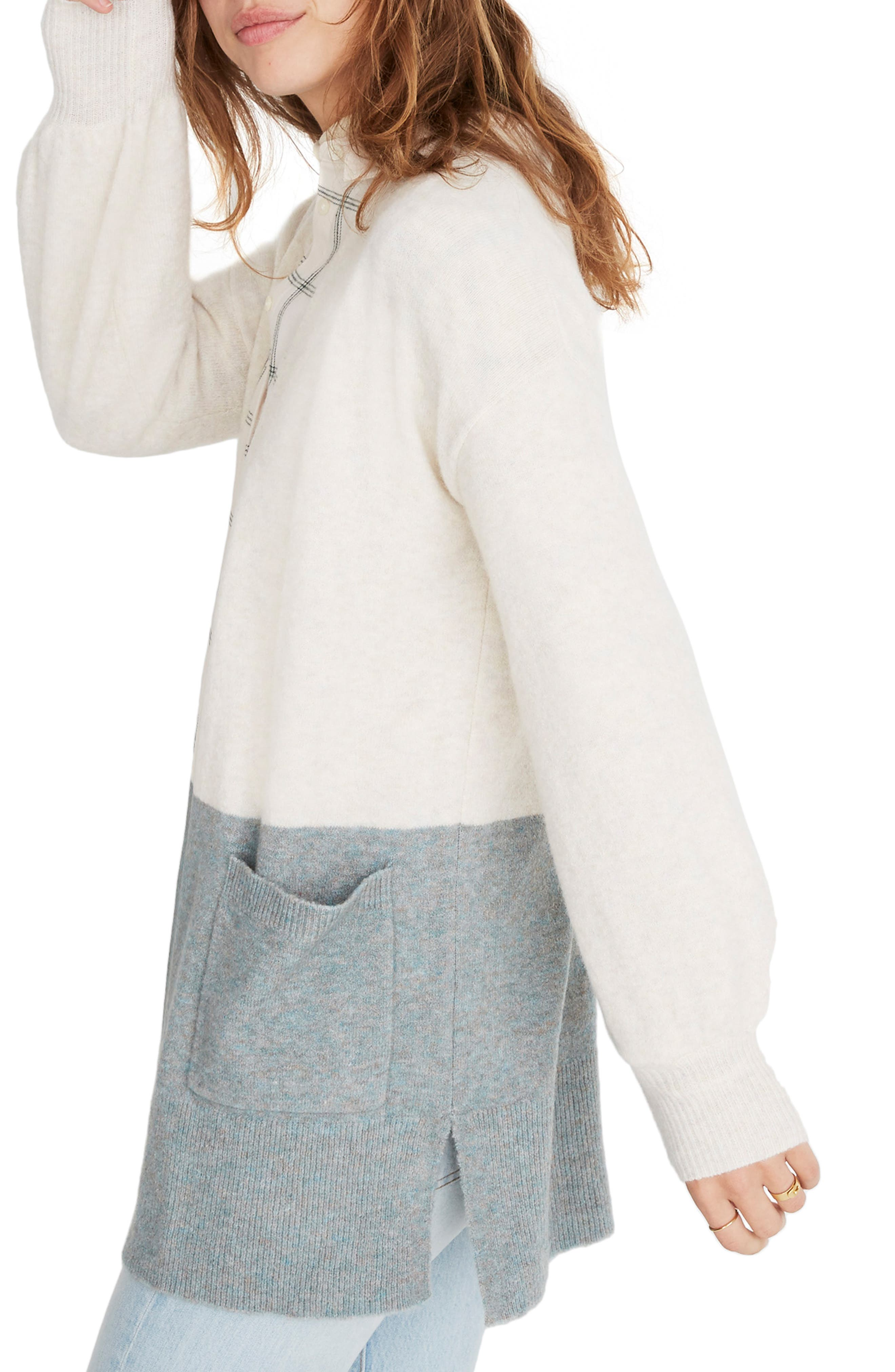 Kent Colorblock Cardigan Sweater,                             Alternate thumbnail 3, color,                             HEATHER RIVER