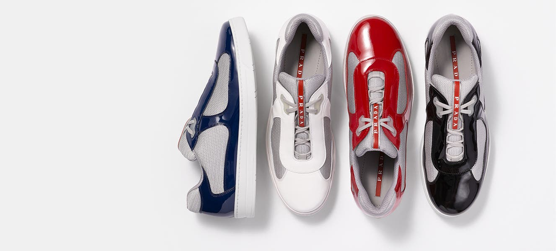 Prada designer shoes and accessories for men.