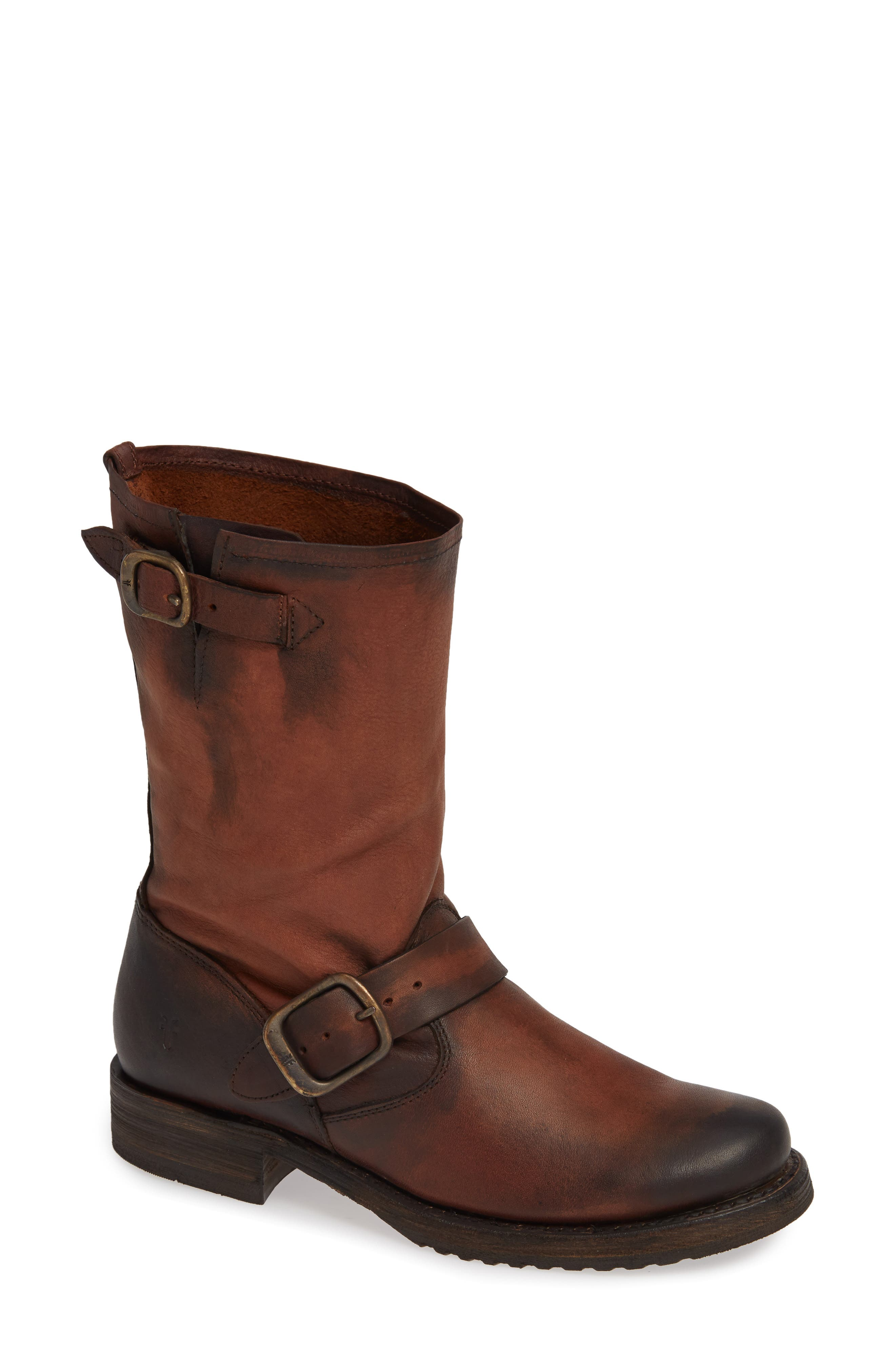'Veronica' Short Boot,                             Main thumbnail 1, color,                             REDWOOD LEATHER