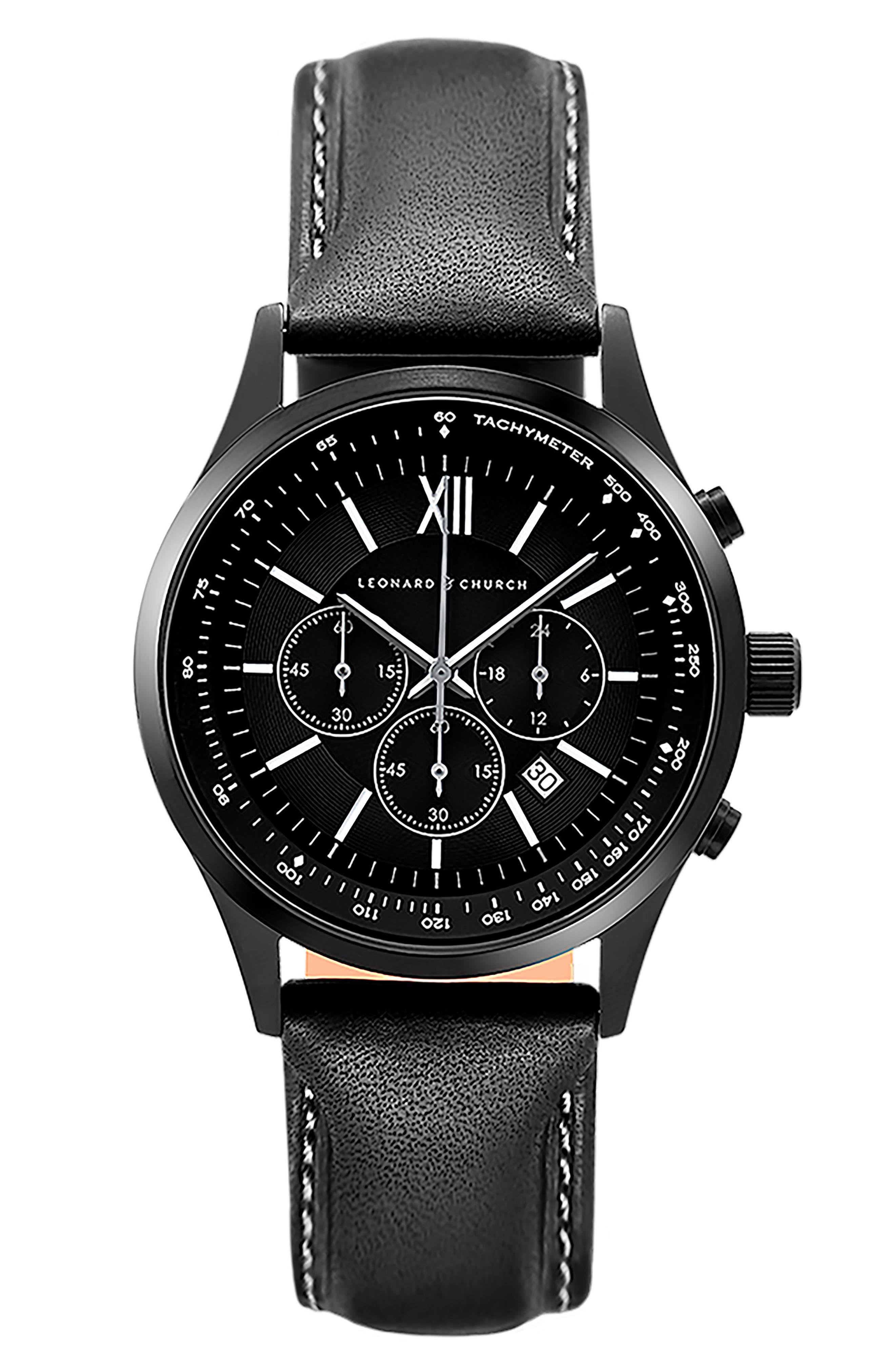 LEONARD & CHURCH Bowery Chronograph Leather Strap Watch, 43mm, Main, color, 001