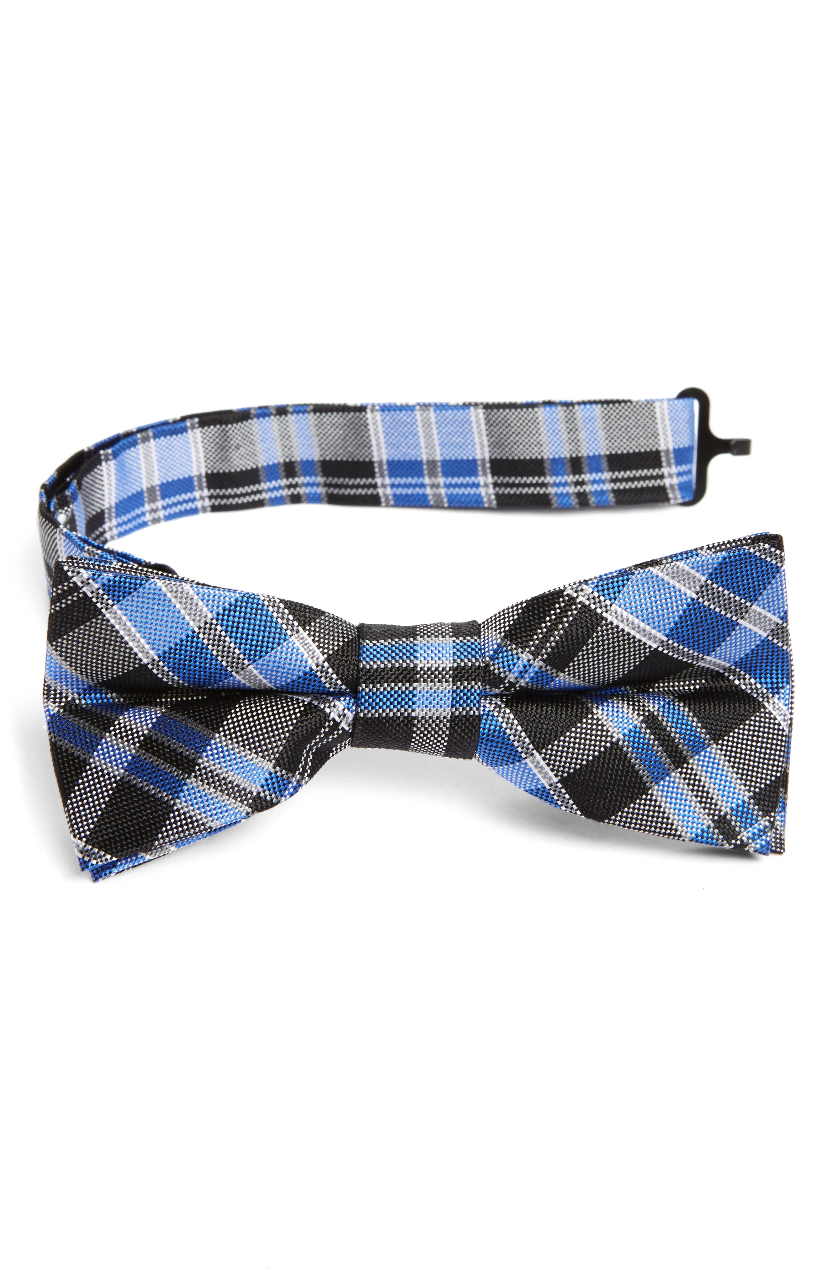 Plaid Silk Bow Tie,                             Main thumbnail 1, color,                             001
