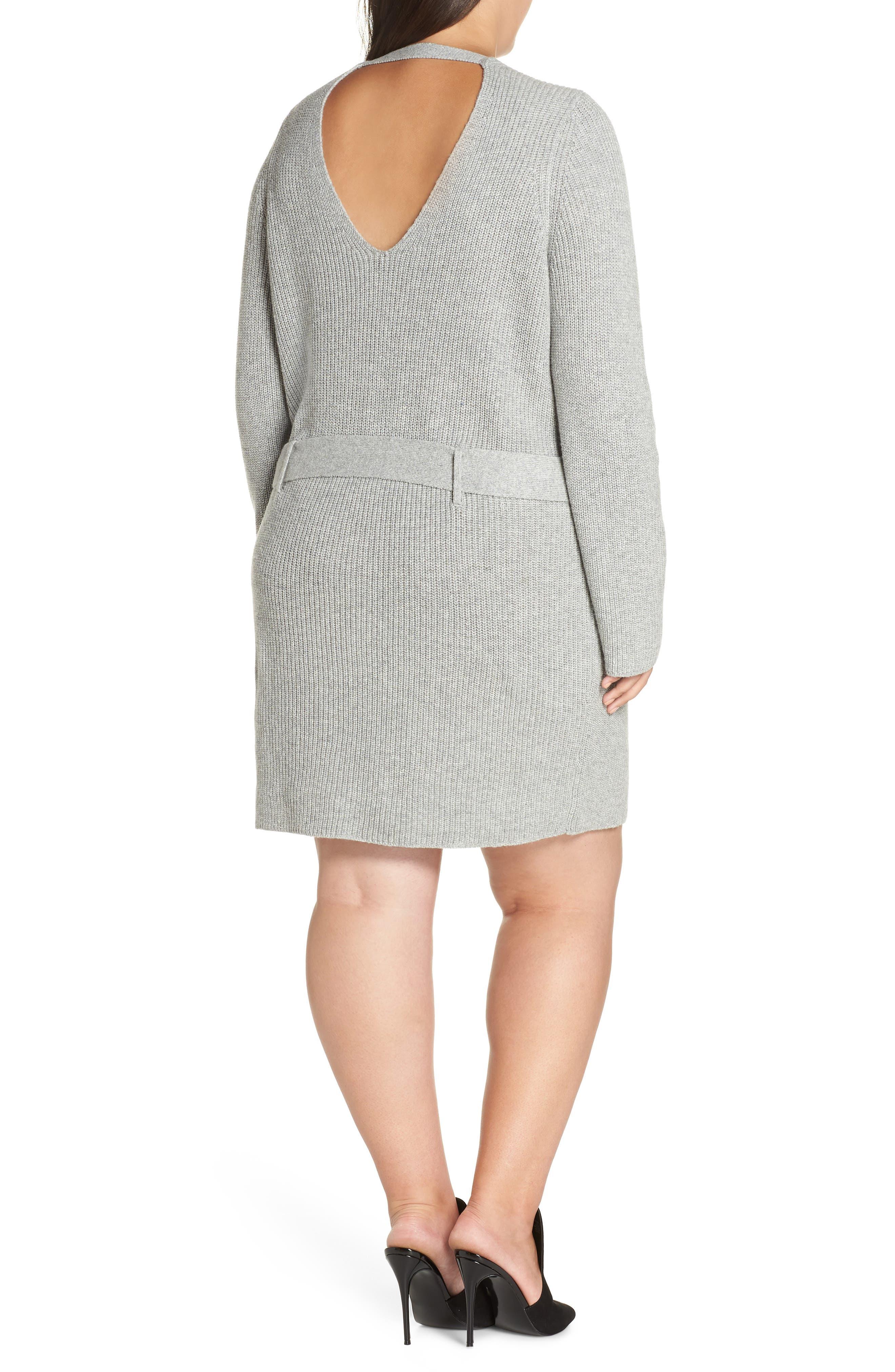 Belted Sweater Dress,                             Alternate thumbnail 2, color,                             GREY MEDIUM HEATHER