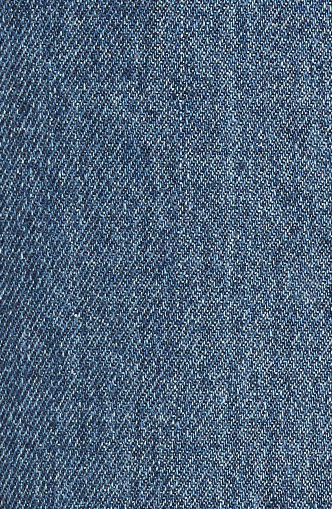 Side Ruffle Denim Pencil Skirt,                             Alternate thumbnail 6, color,                             400