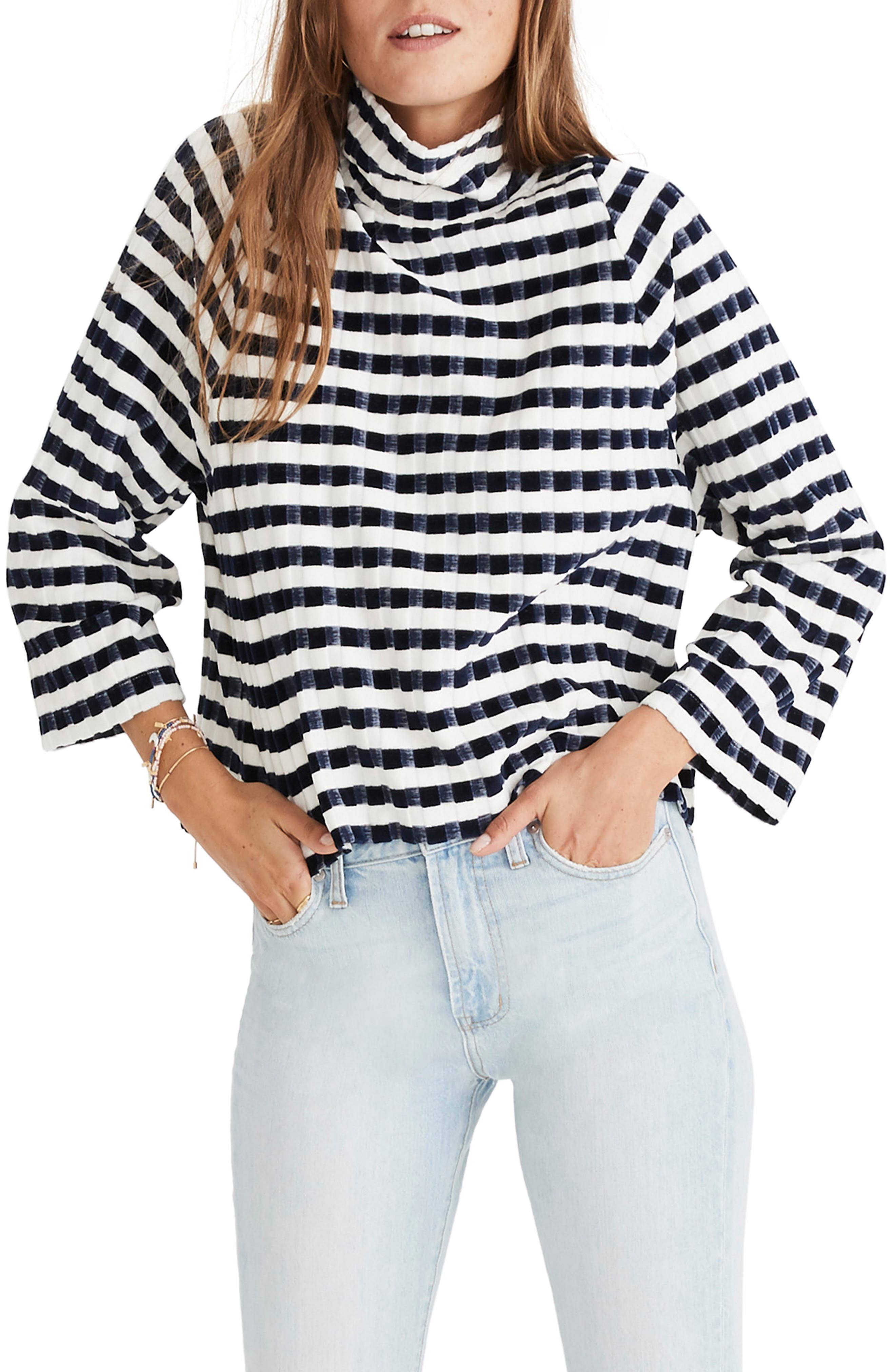 Texture & Thread Velvet Stripe Mock Neck Top,                         Main,                         color, DEEP NAVY