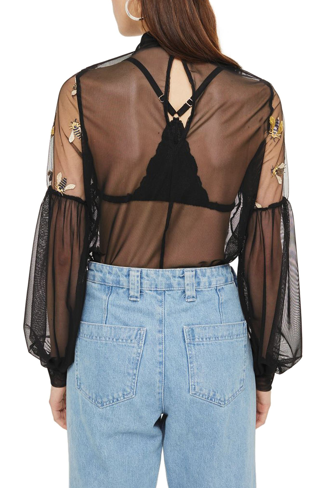 Embellished Bee Mesh Blouse,                             Alternate thumbnail 2, color,