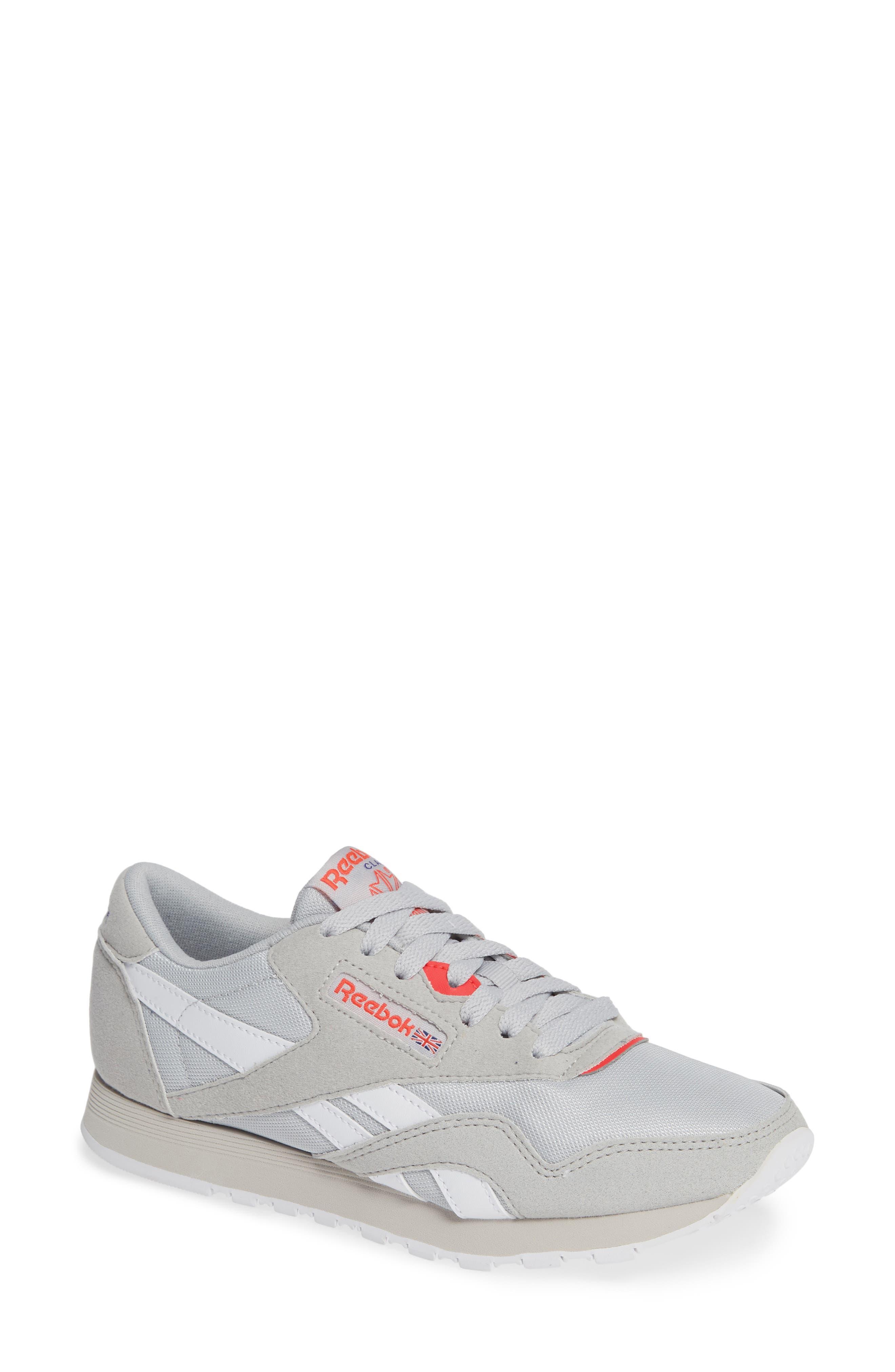 Classic Nylon TXT Sneaker,                             Main thumbnail 1, color,                             GREY/ NEON CHERRY/ PURPLE