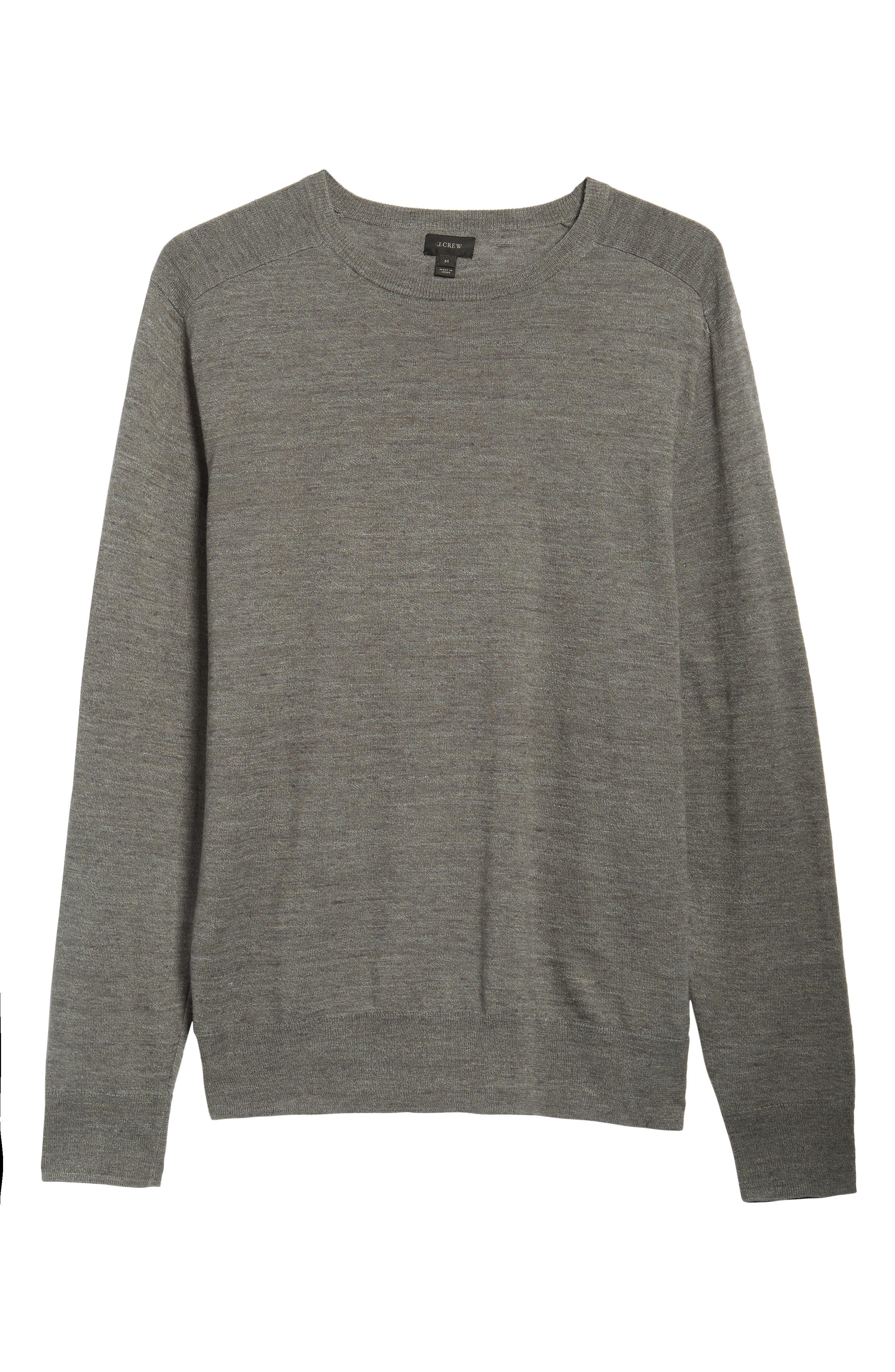 Cotton Blend Crewneck Sweater,                             Alternate thumbnail 6, color,                             022