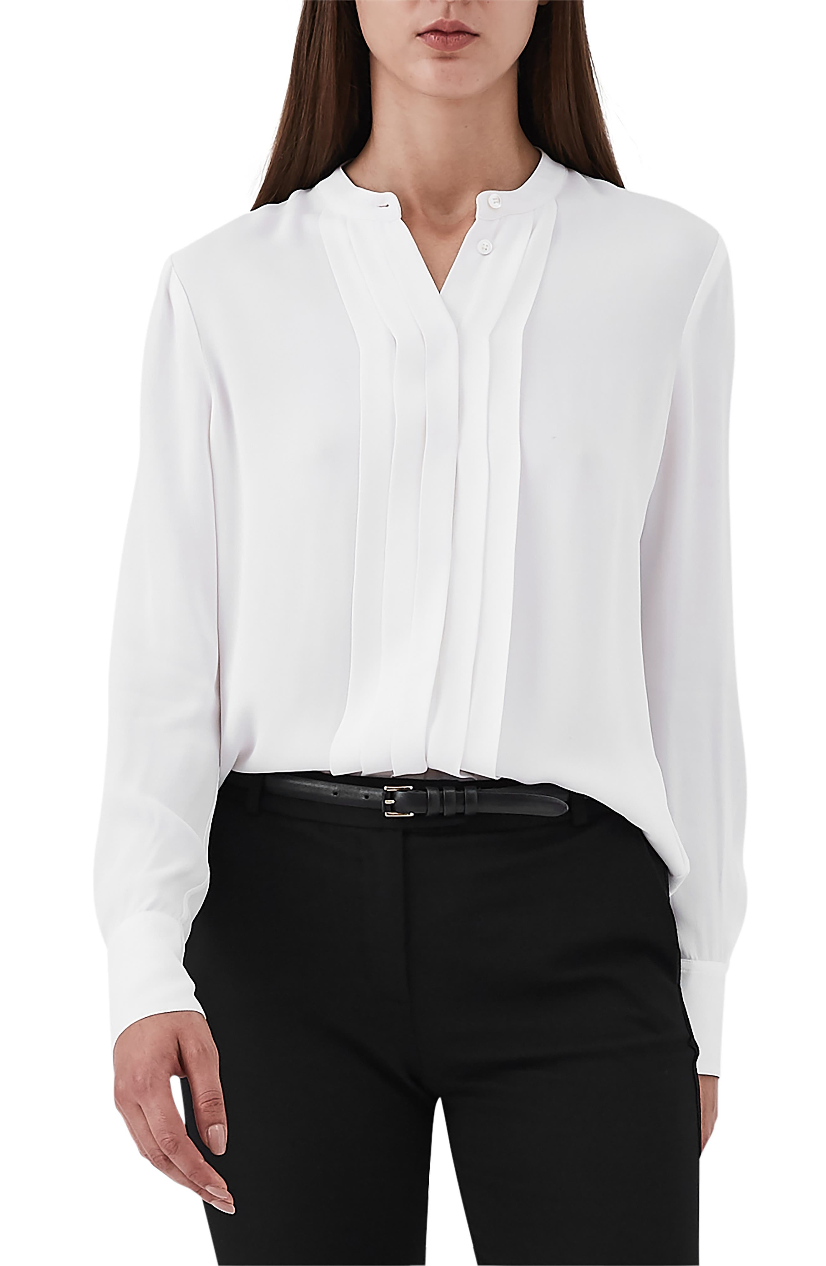 Jade Pleat Placket Blouse,                             Main thumbnail 1, color,                             OFF WHITE