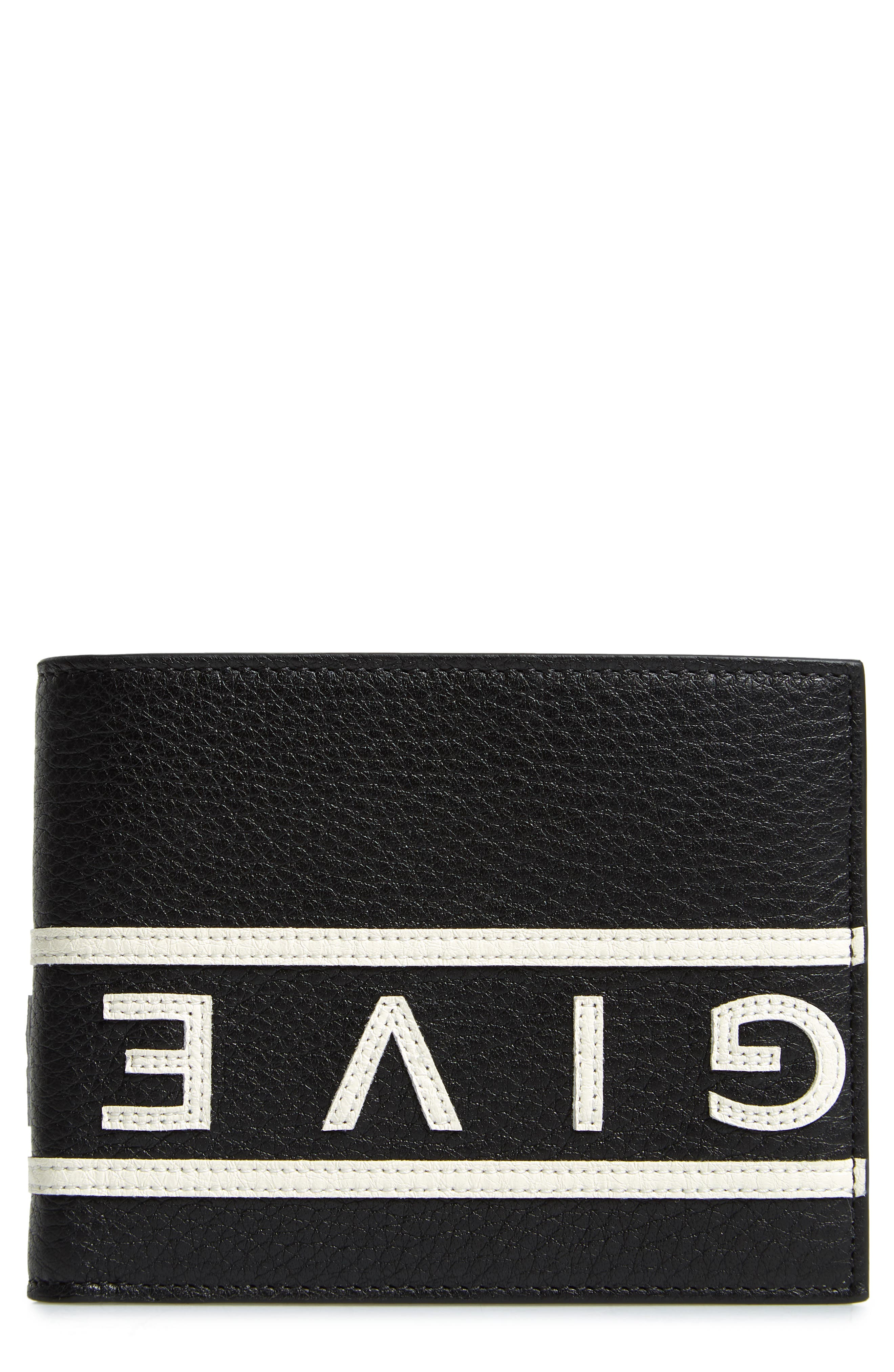 Reverse Logo Band Leather Wallet,                             Main thumbnail 1, color,                             BLACK/ WHITE